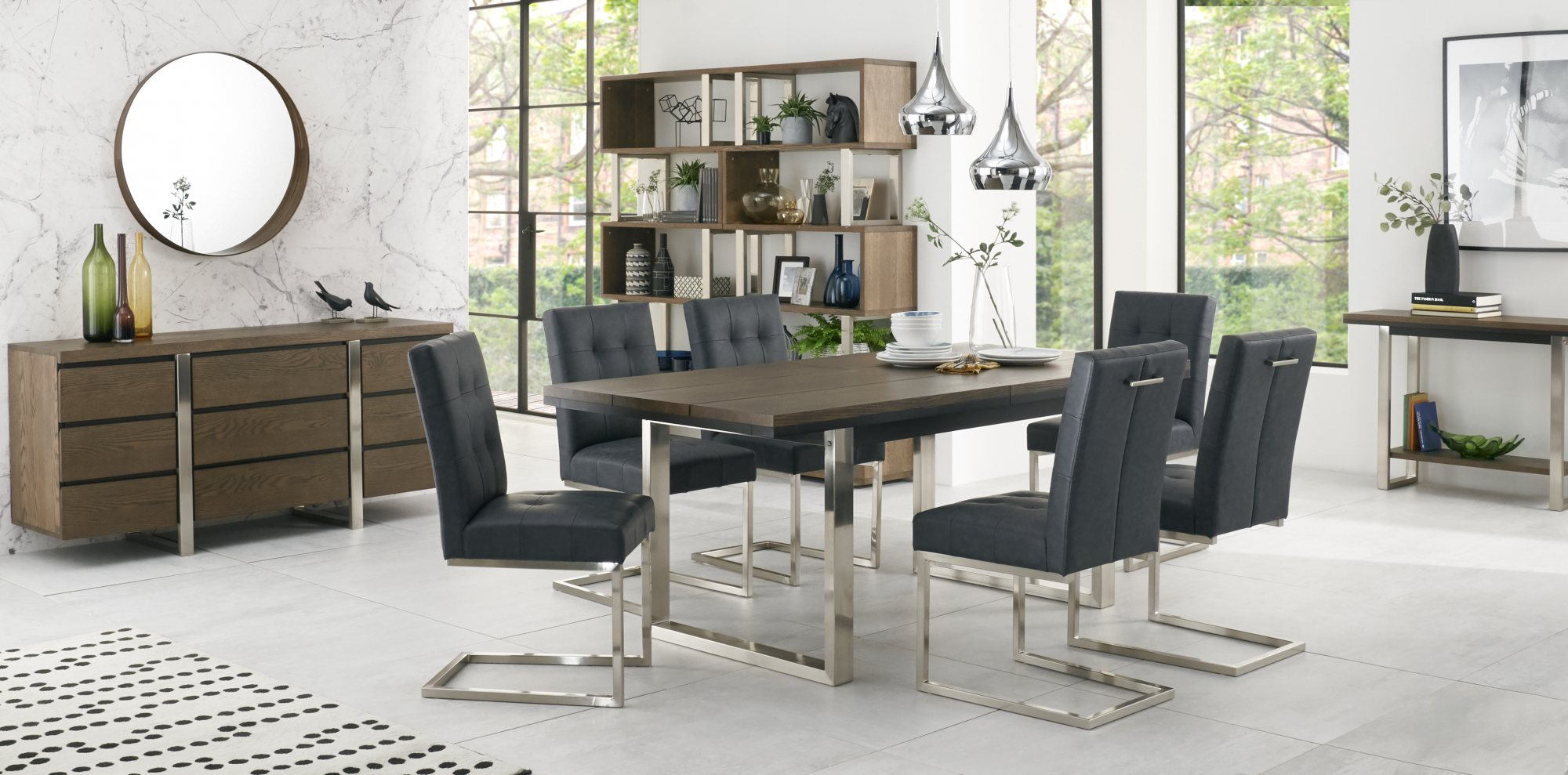 BRINDISI DINING SET WITH DARK NAVY BONDED CANTER CHAIRS