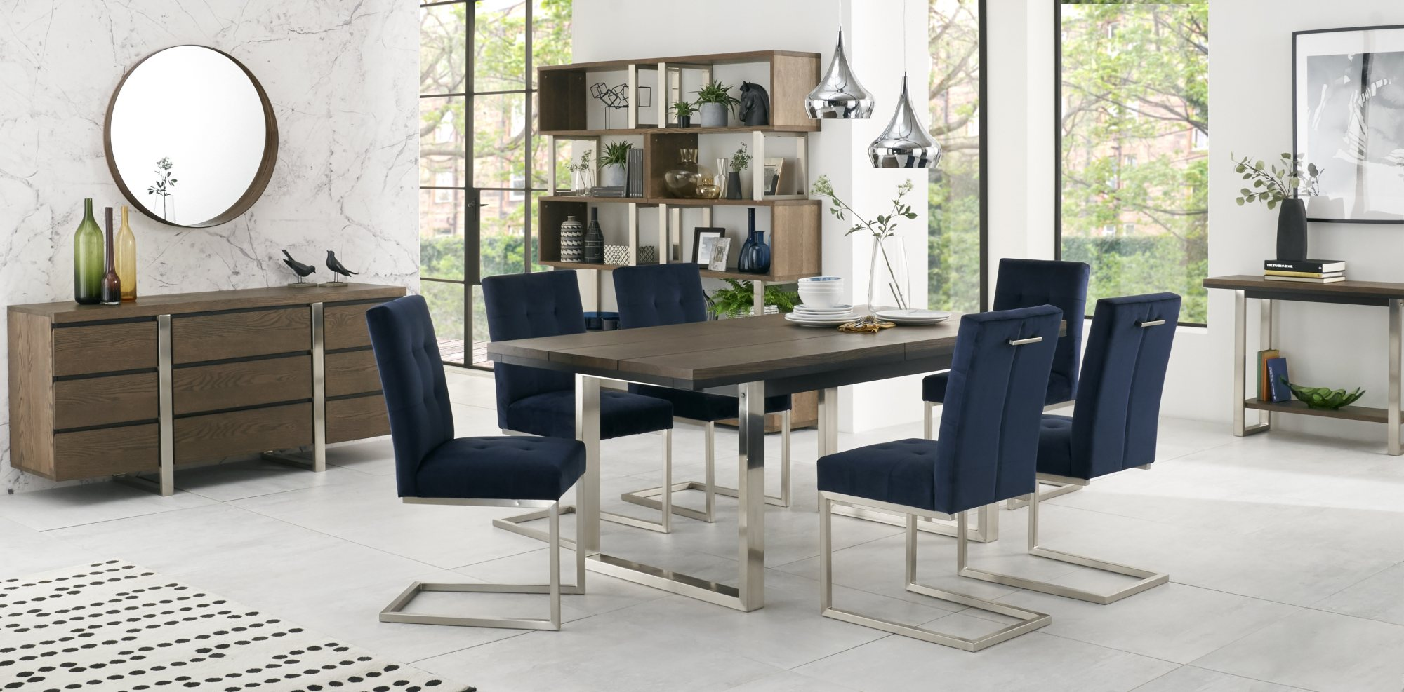 BRINDISI DINING SET WITH NAVY VELVET CANTER CHAIRS - L190cm EXTENDING TO L240cm