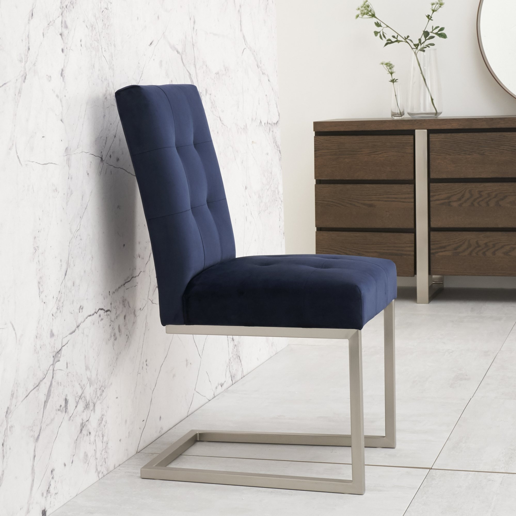 BRINDISI NAVY VELVET CANTER CHAIR SIDE VIEW