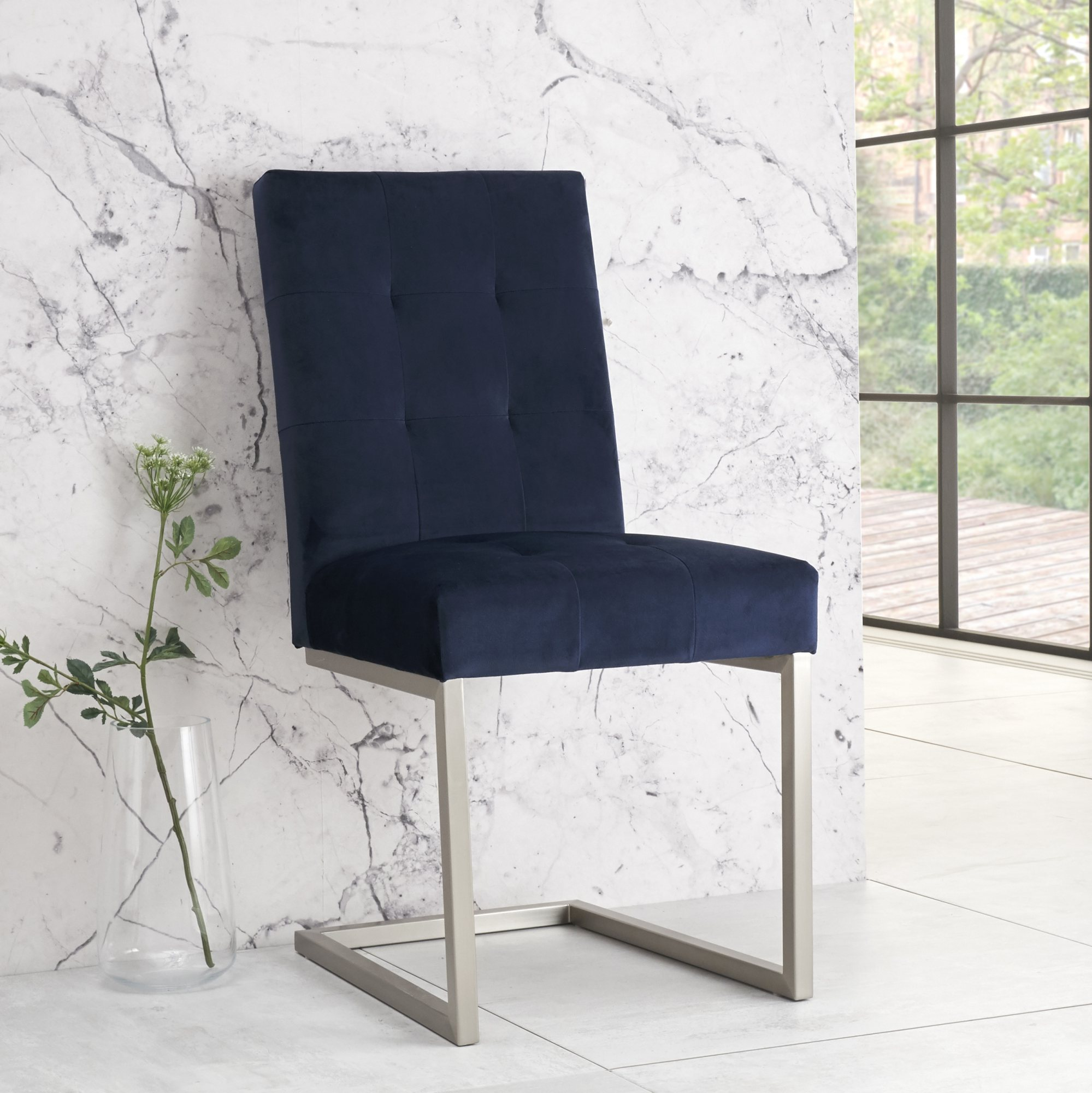 BRINDISI NAVY VELVET CANTER CHAIR