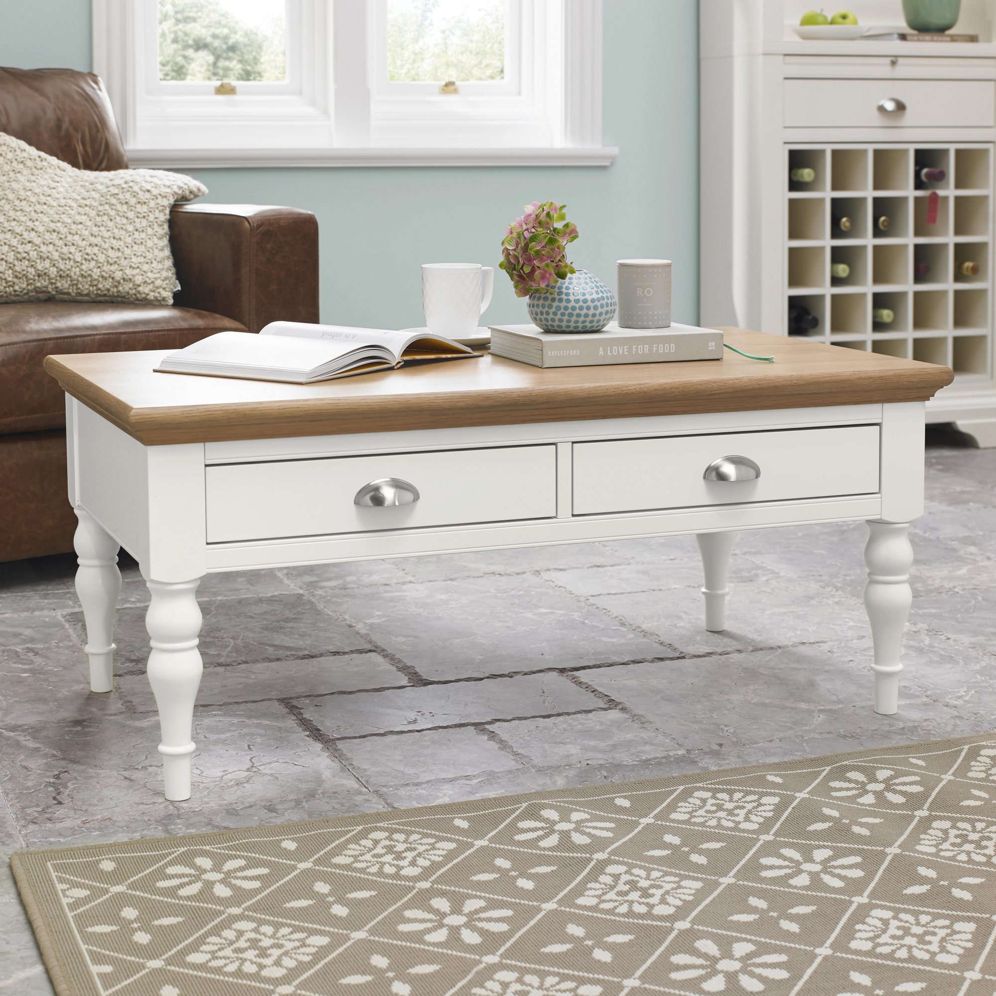 KYRA TWO TONE COFFEE TABLE - L106cm x D60cm x H46cm