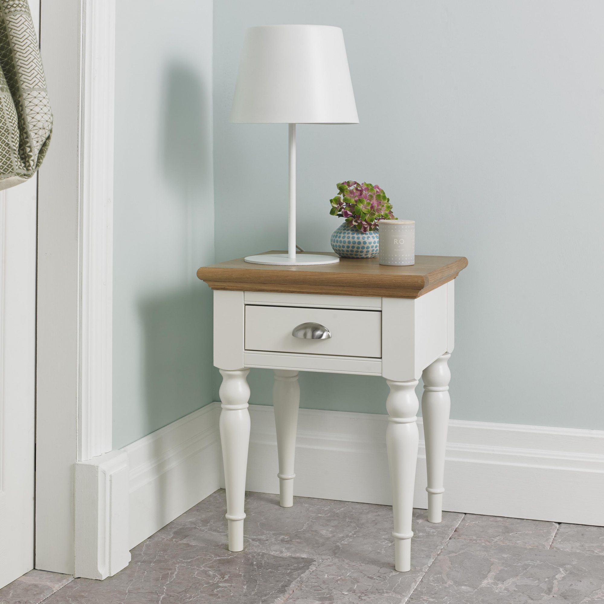 KYRA TWO TONE LAMP TABLE - L46cm x D43cm x H57cm