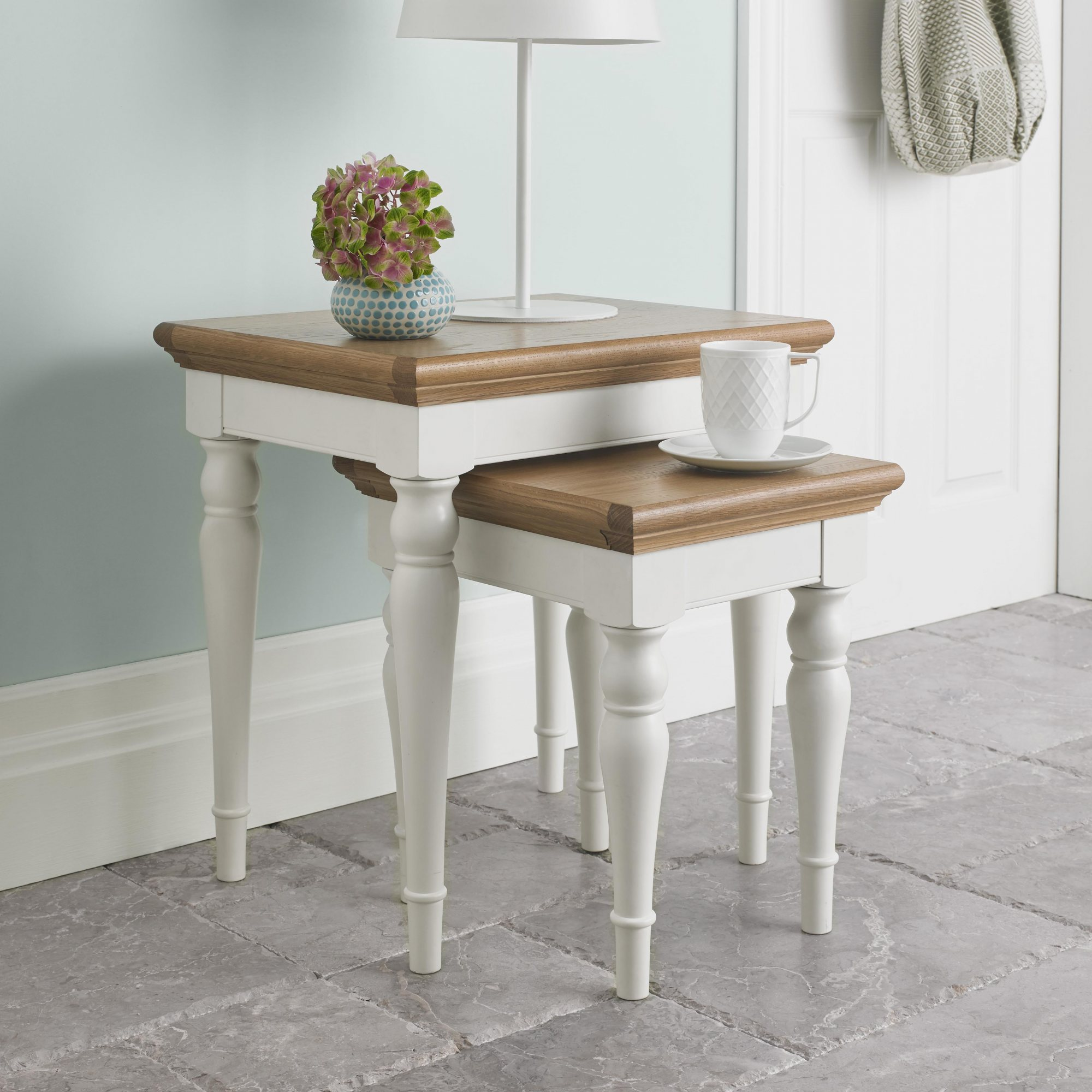 KYRA TWO TONE NEST OF TABLES - L55cm x D43cm x H57cm