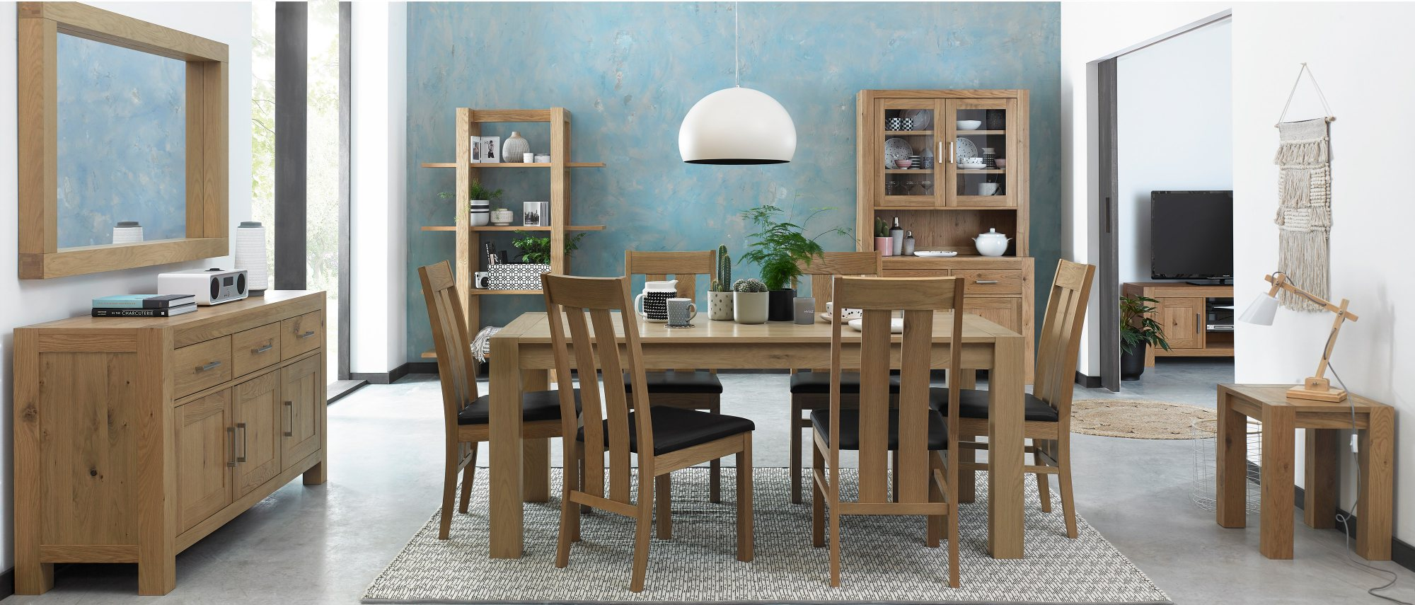 LILLE OAK DINING SET - L185cm EXTENDING TO L245cm
