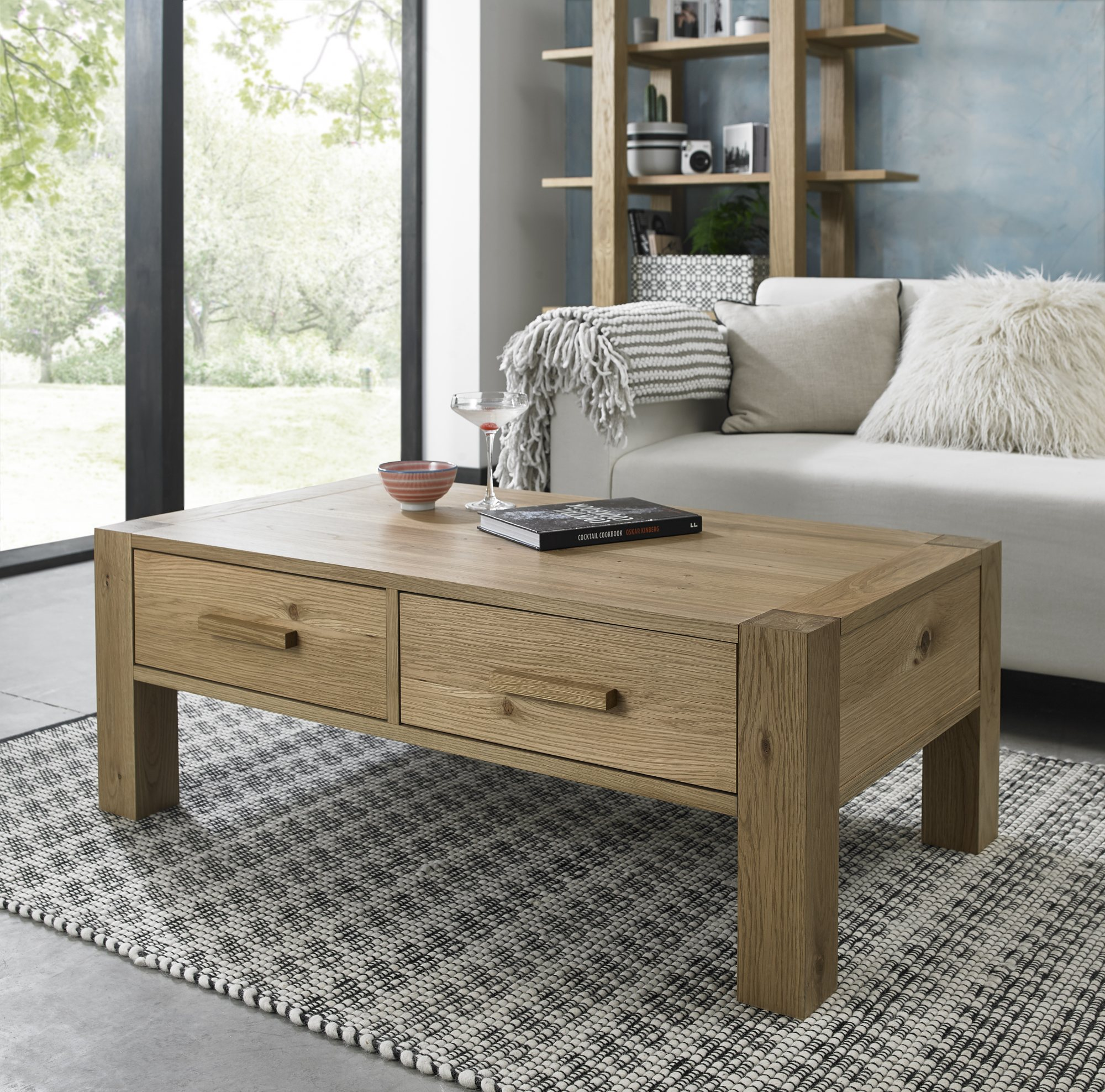 LILLE OAK DRAWER COFFEE TABLE - L110cm x D60cm x H40cm