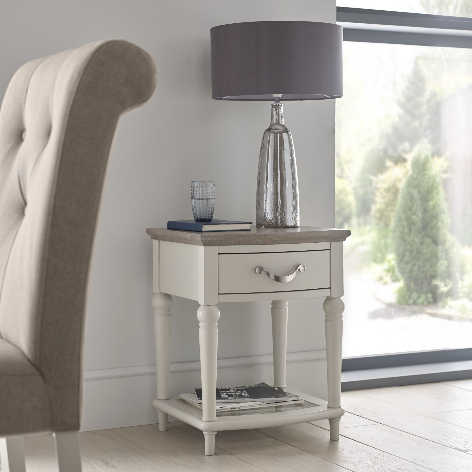 MONICA GREY LAMP TABLE - L45cm x D44cm x H57cm
