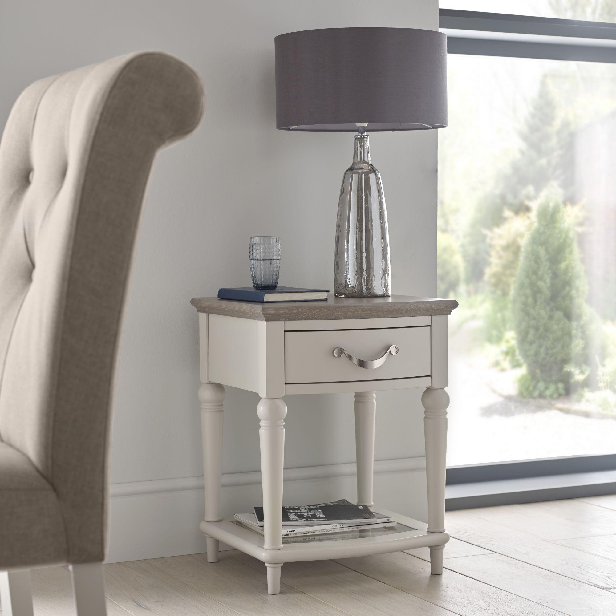 MONICA GREY LAMP TABLE - L45cm x D44cm x H57cm
