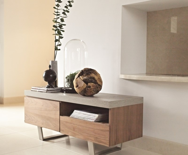 CONCRETE LOOK TV UNIT - L120cm x D45cm x H50cm