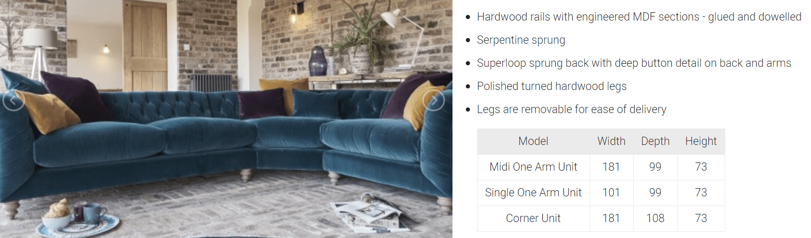 TRUFFLE CORNER SOFA SPEC SHEET
