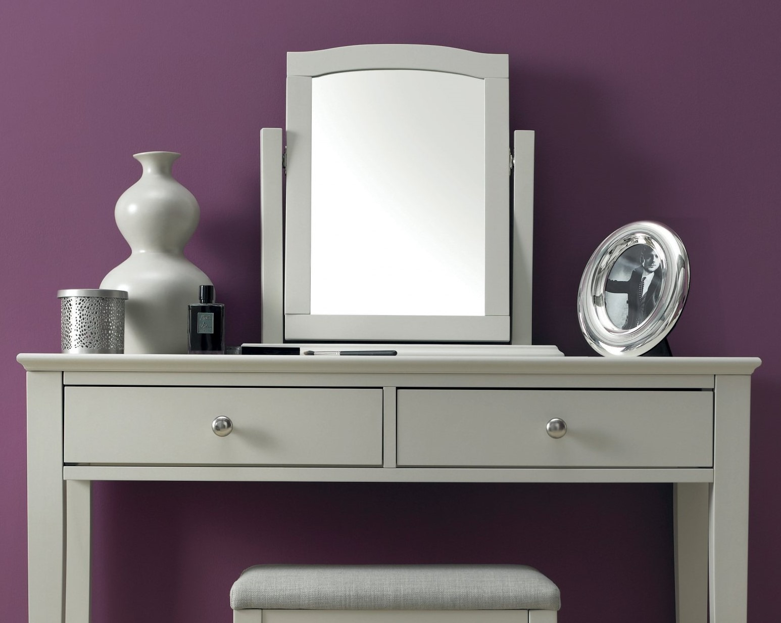 ASHLEY GREY BEDROOM MIRROR - L52cm x D18cm x H53cm.