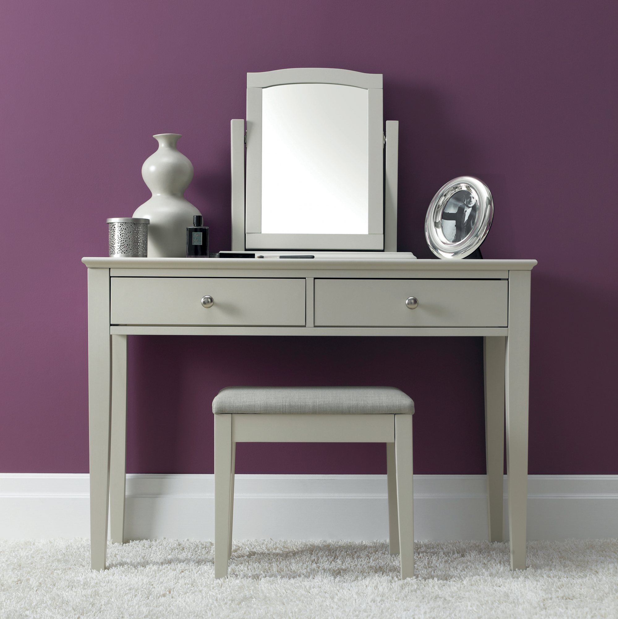 ASHLEY GREY BEDROOM MIRROR - L52cm x D18cm x H53cm