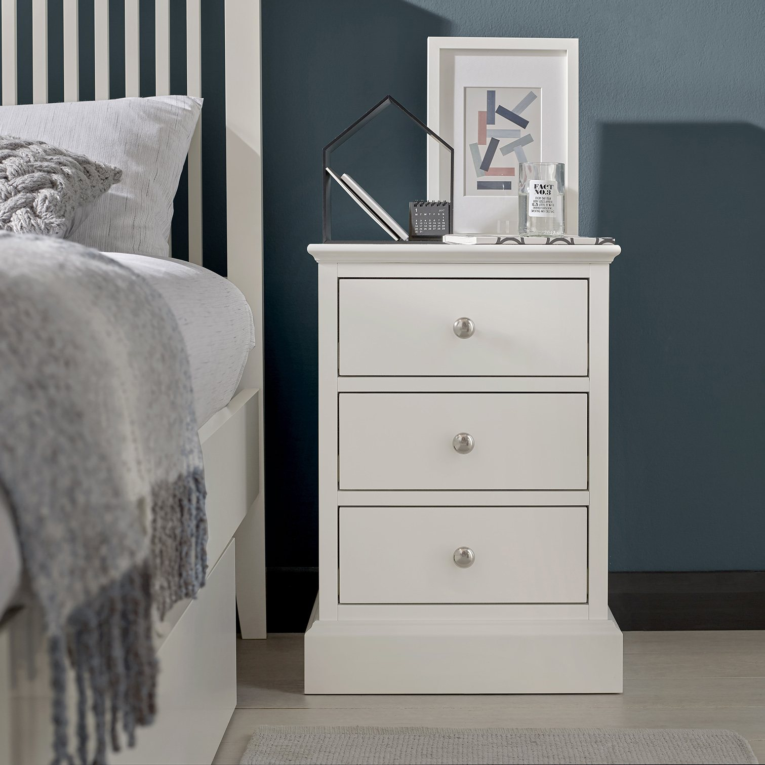 ASHLEY (GREY or WHITE) 3DR BEDSIDE - L44cm x D42cm x H63cm