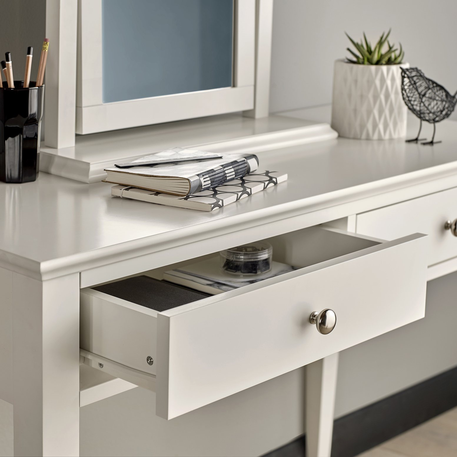 ASHLEY (GREY or WHITE) DRESSING TABLE - DRAWER DETAIL