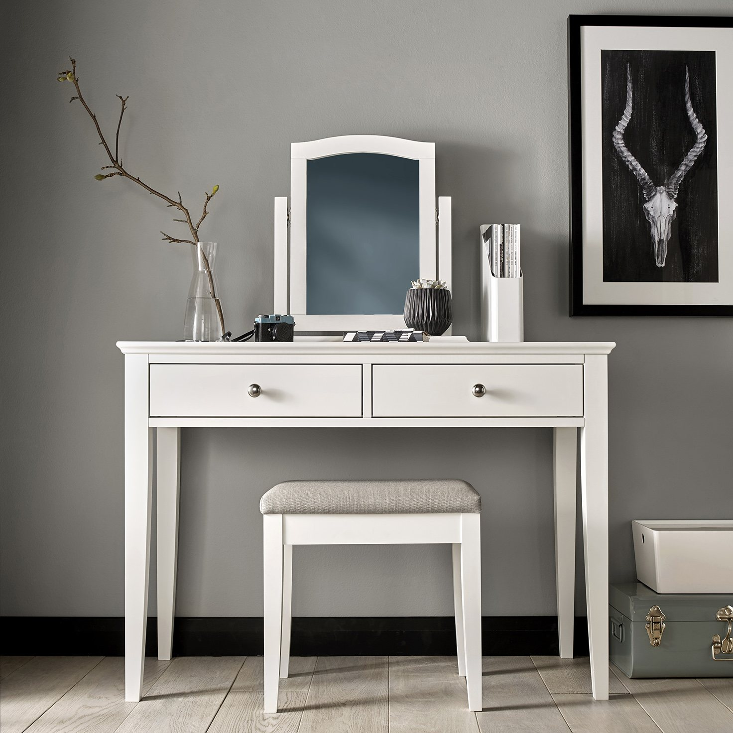 ASHLEY (GREY or WHITE) DRESSING TABLE - L109cm x D47cm x H78cm