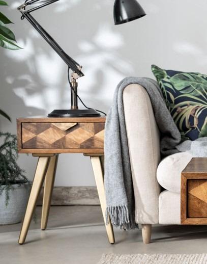 BAXTER LAMP TABLE - L43cm x D43cm x H58.5cm