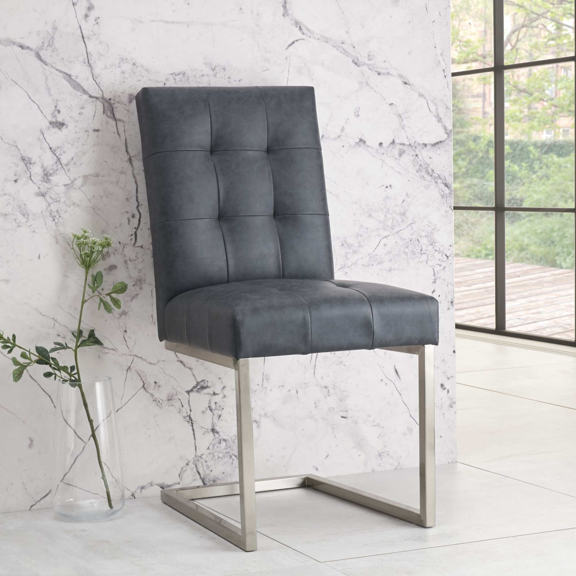 BRINDISI CANTER CHAIR - DARK NAVY BONDED LEATHER
