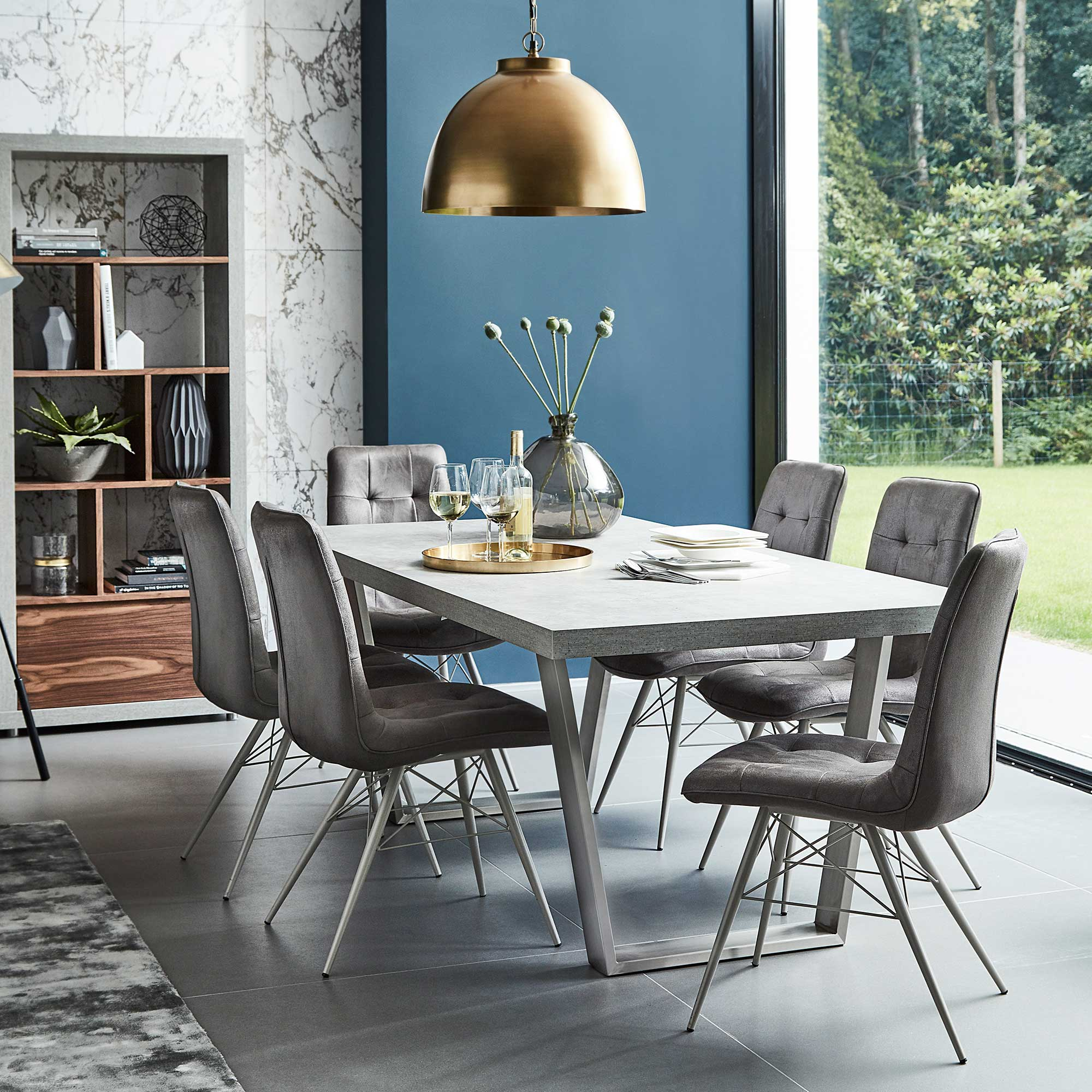CONCRETE LOOK DINING TABLE L200cm x D100cm x H75cm