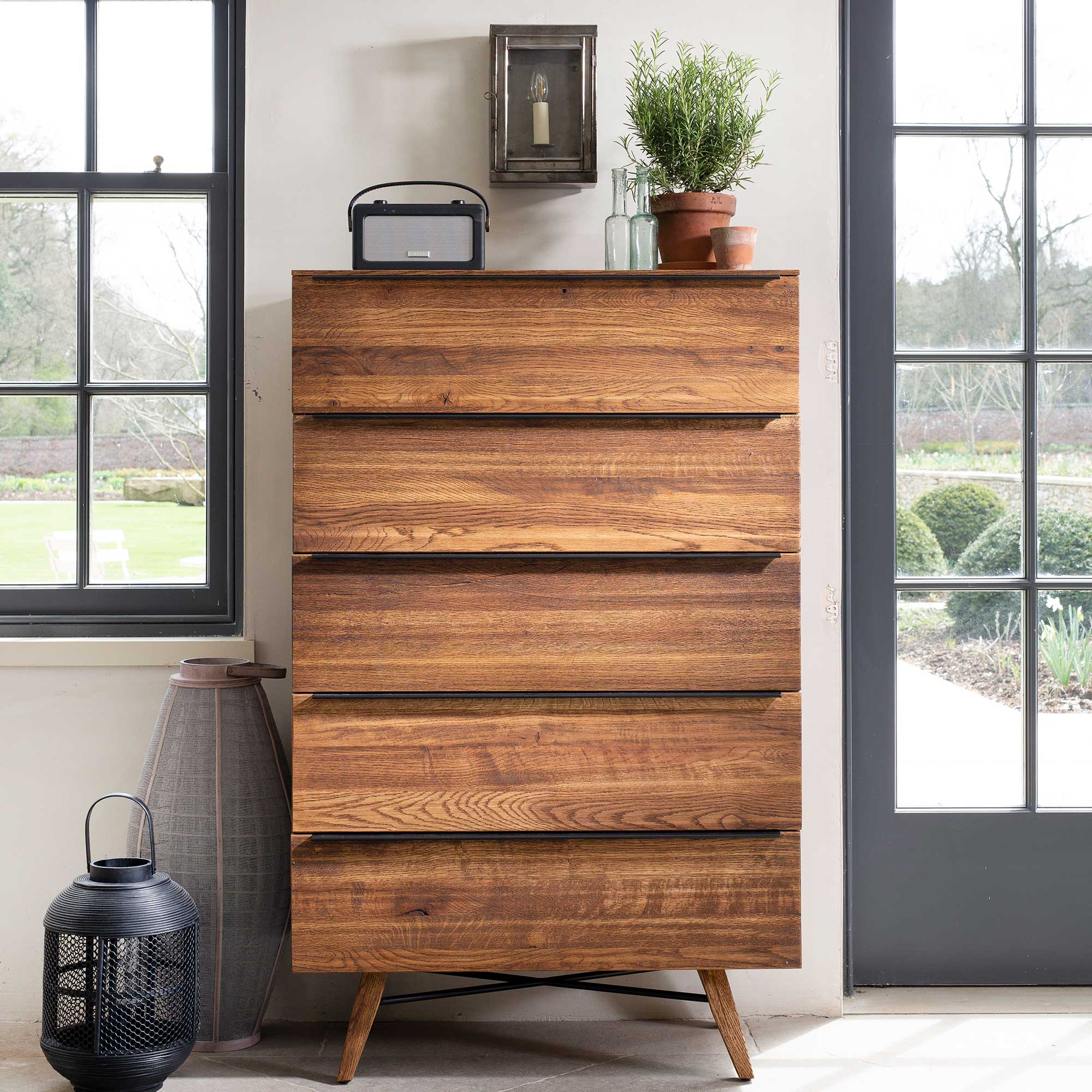 CORMAR OAK TALL CHEST - L82cm x D45cm x H130.8cm