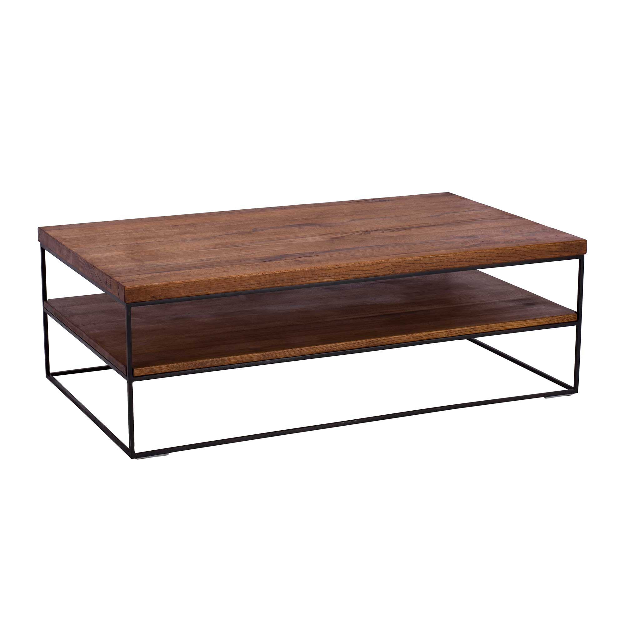 CORMAR OILED OAK COFFEE TABLE - L120cm x D70cm x H40cm ANGLE VIEW