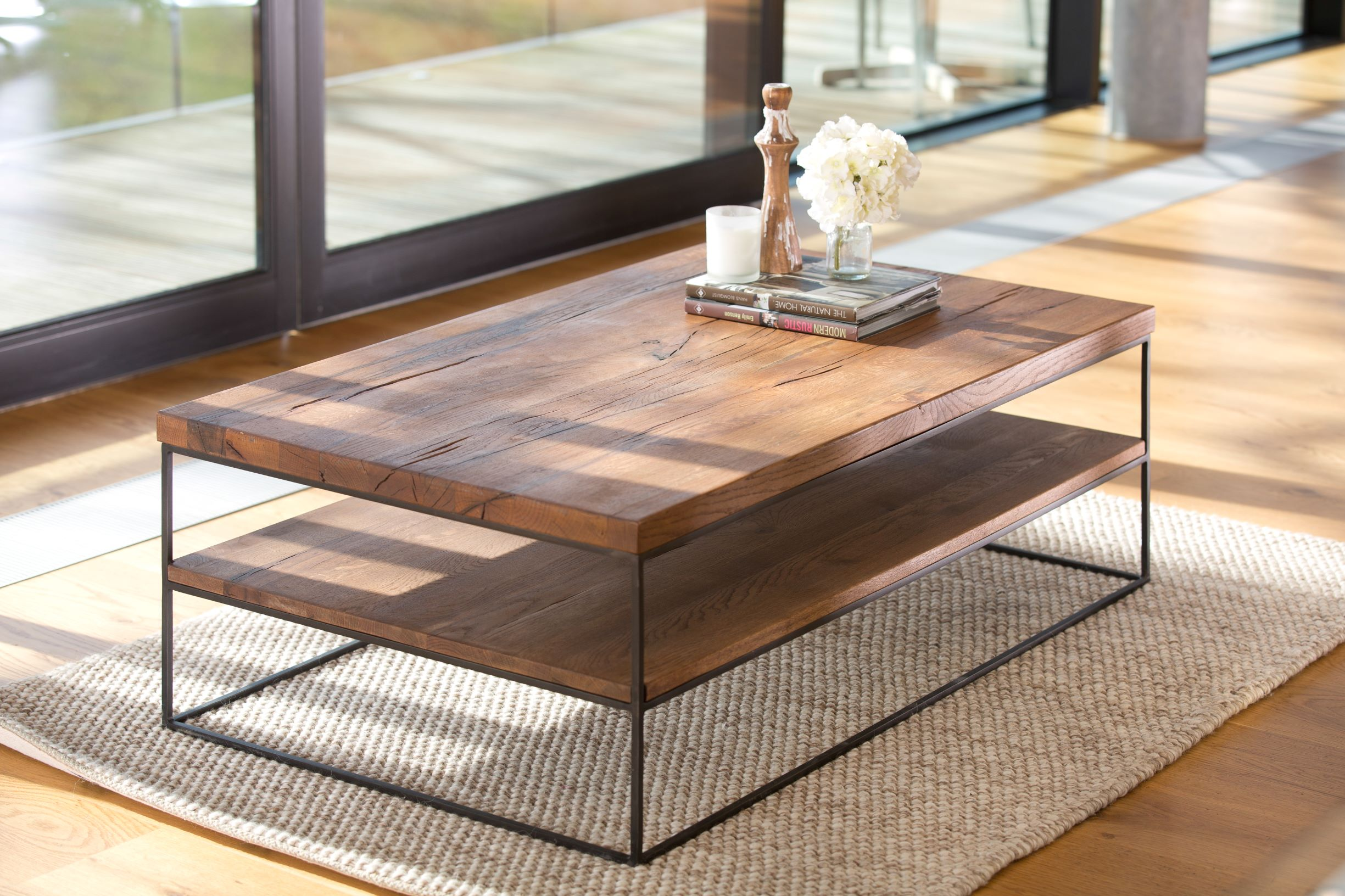 CORMAR OILED OAK COFFEE TABLE - L120cm x D70cm x H40cm