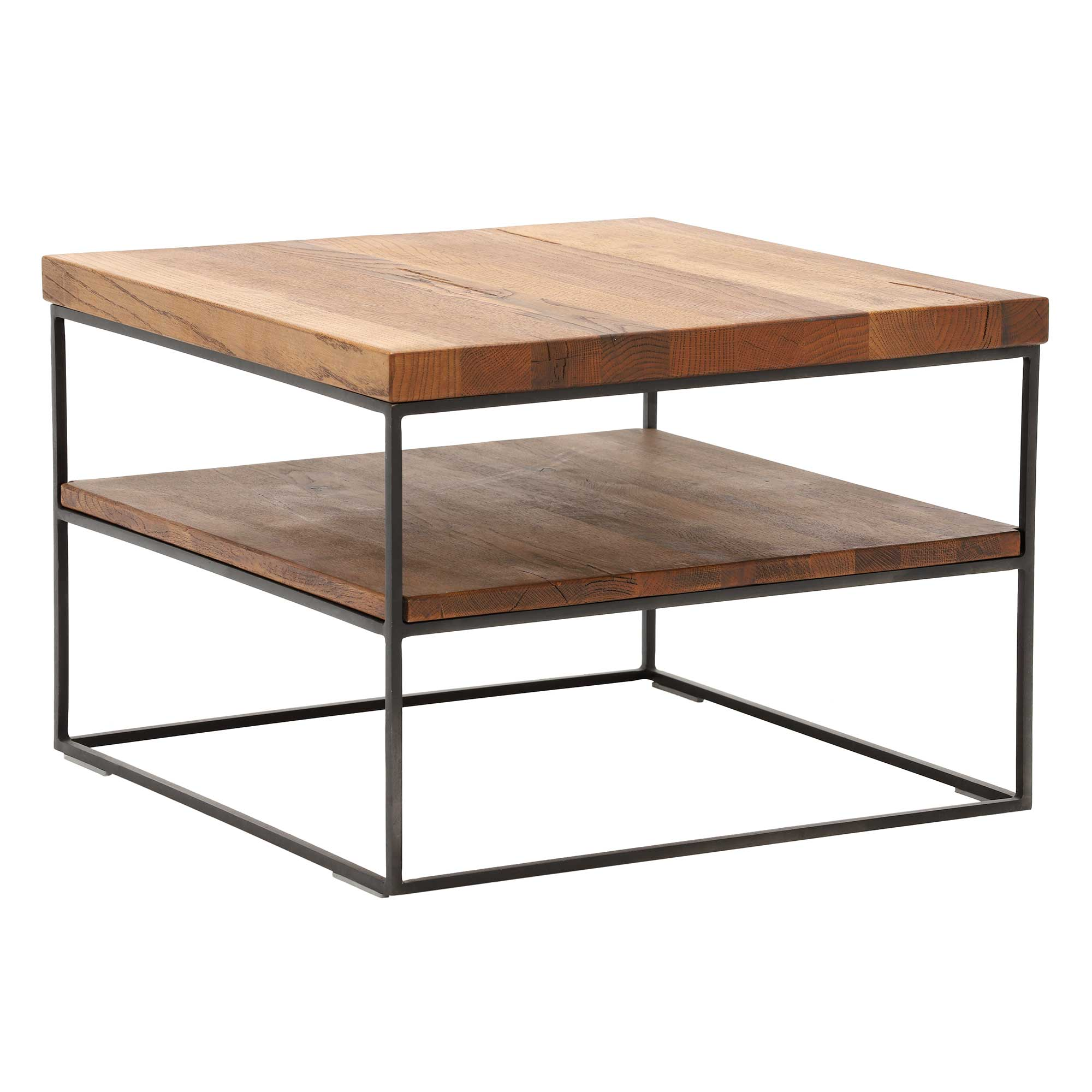 CORMAR OILED OAK LAMP TABLE - L60cm x D60cm x H60cm. ANGLE VIEW