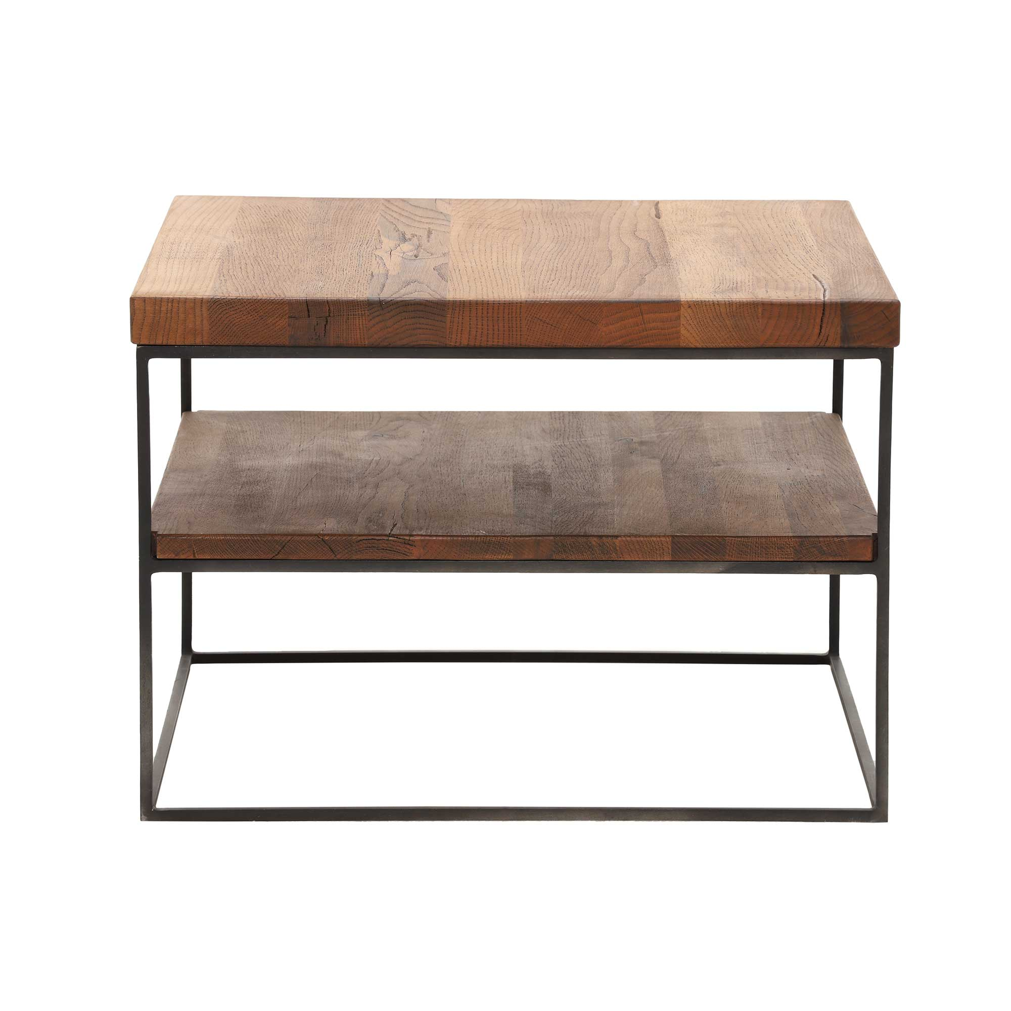 CORMAR OILED OAK LAMP TABLE - L60cm x D60cm x H60cm. END VIEW