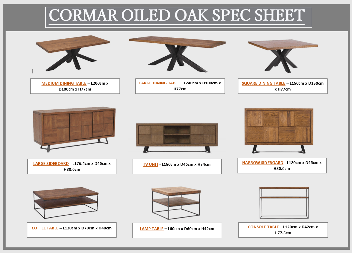 CORMAR OILED OAK SPEC SHEET