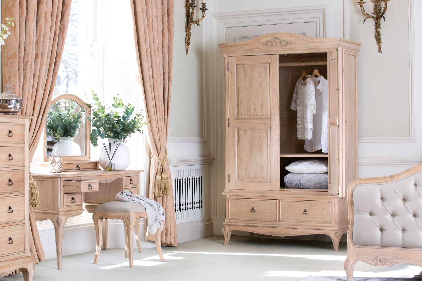 DRESSING TABLE WITH GALLERY MIRROR AND WARDROBE