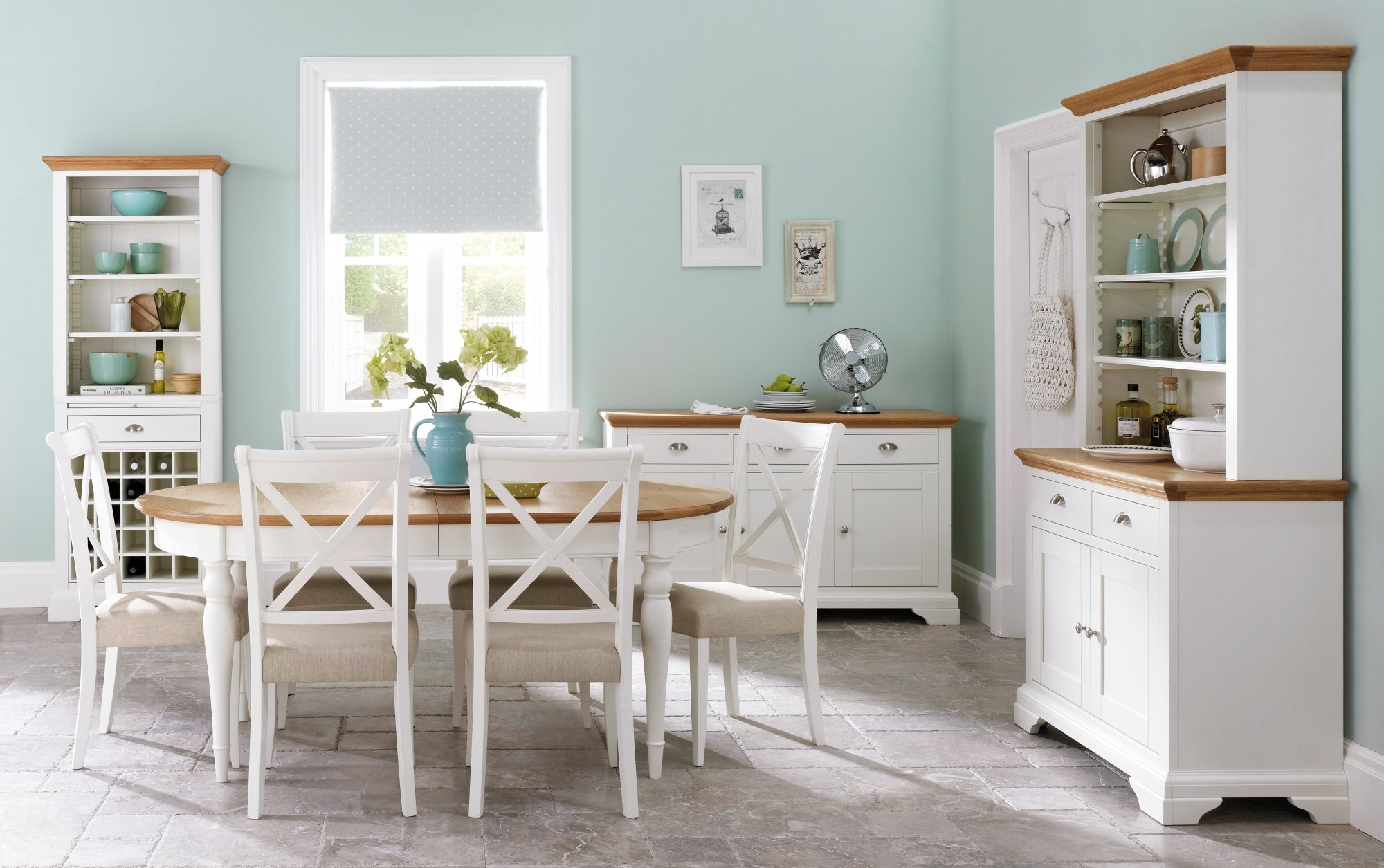 KYRA TWO TONE DINING SET X-BACK CHAIRS - TABLE DIMENSIONS L181cm x D97cm x H77cm