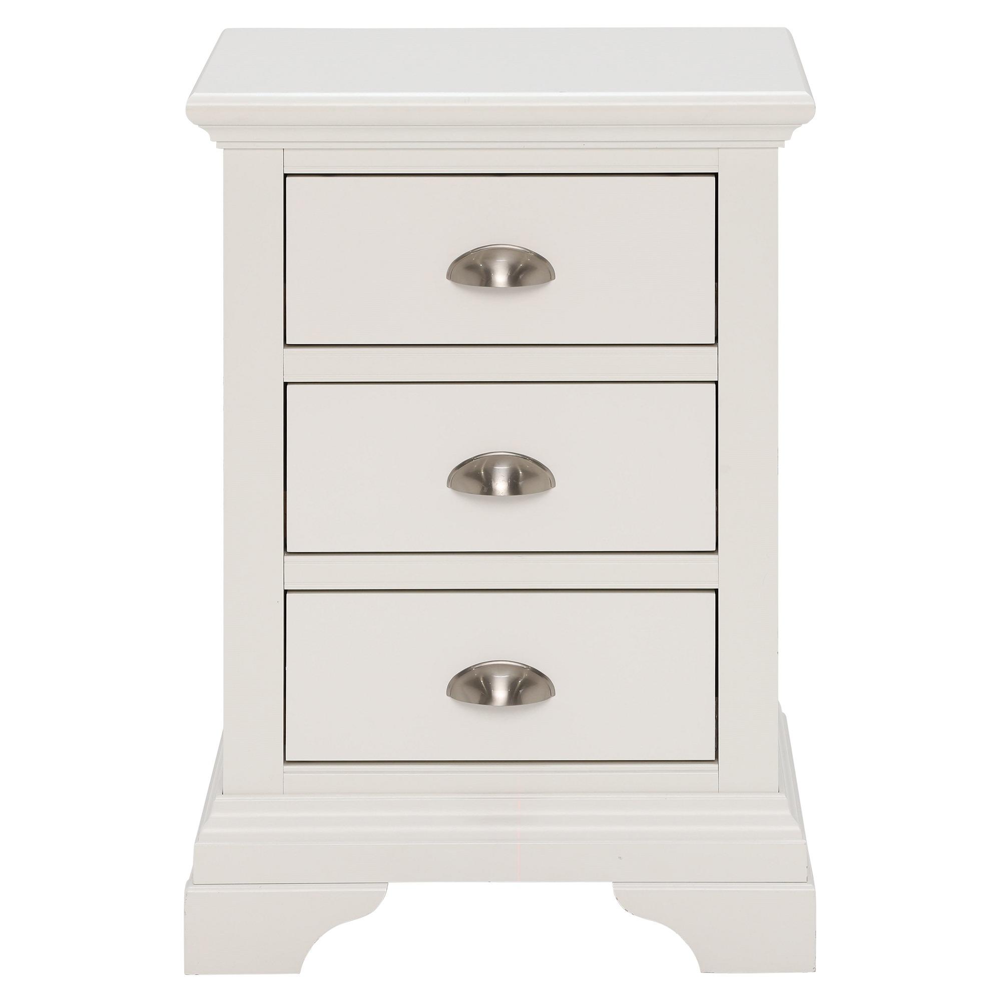 KYRA WHITE 3DR BEDSIDE - FRONT DETAIL - L46cm x D42cm x H67cm