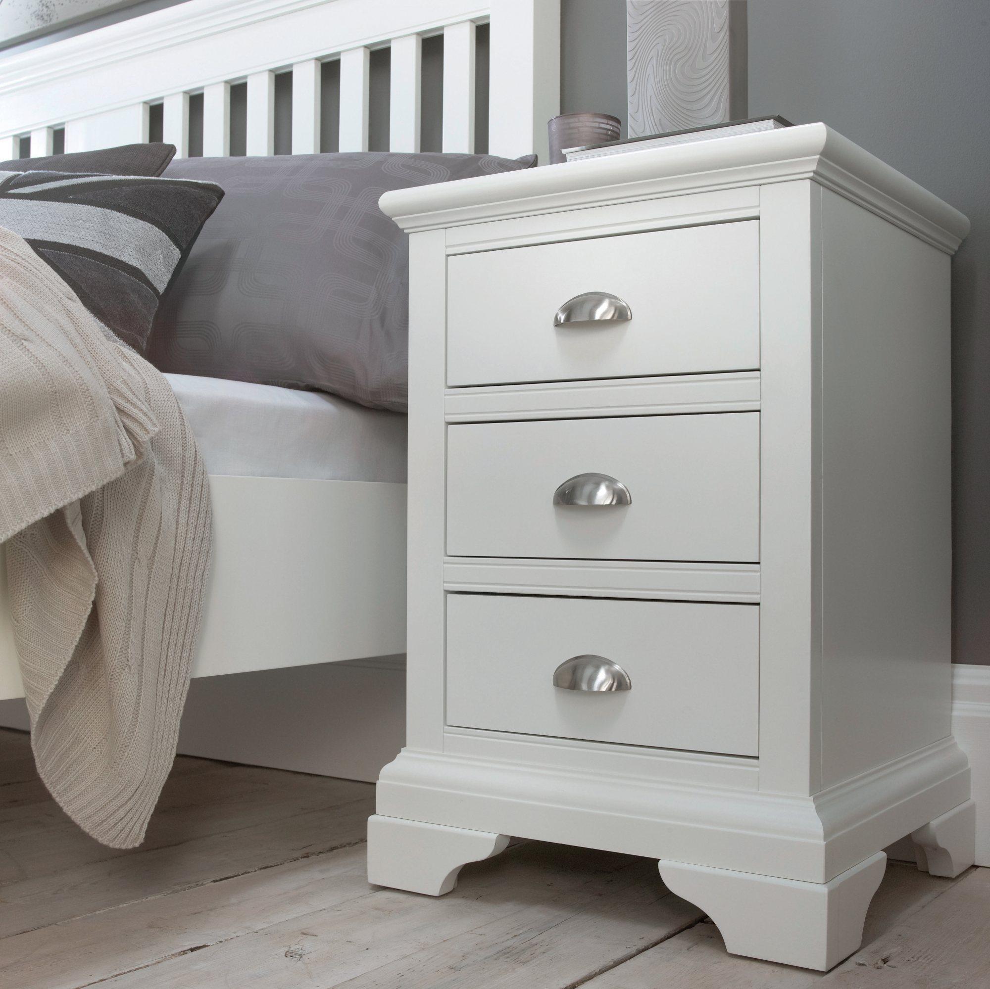 KYRA WHITE 3DR BEDSIDE - L46cm x D42cm x H67cm