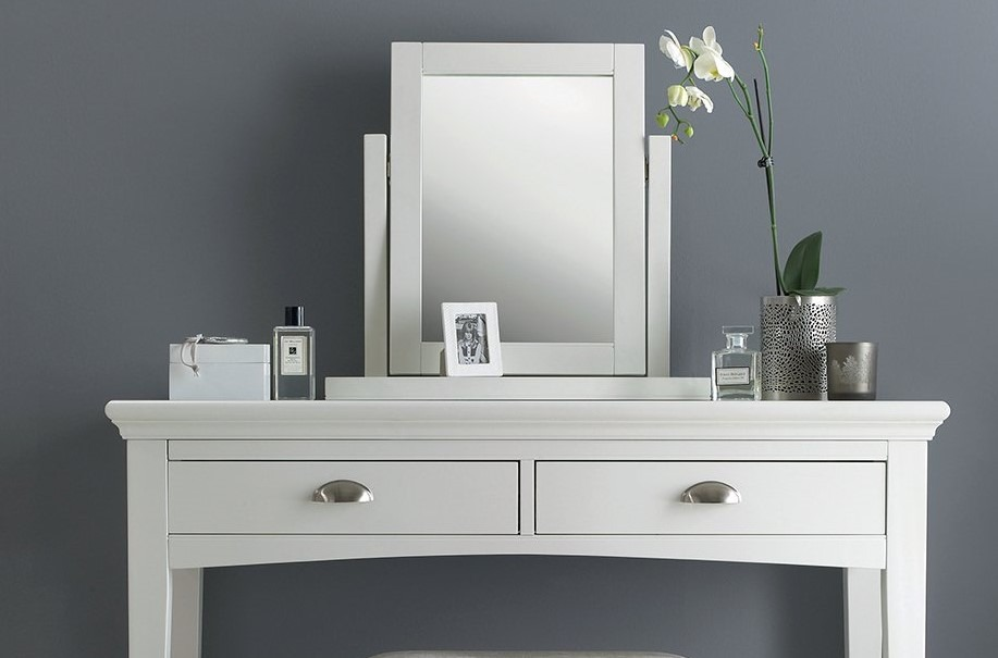 KYRA WHITE BEDROOM MIRROR ON DRESSING TABLE - L54cm x D18cm x H52cm.