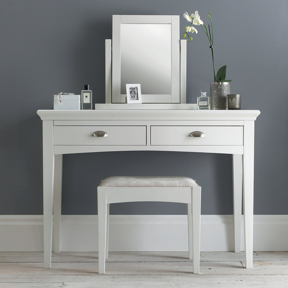 KYRA WHITE BEDROOM MIRROR ON DRESSING TABLE - L54cm x D18cm x H52cm