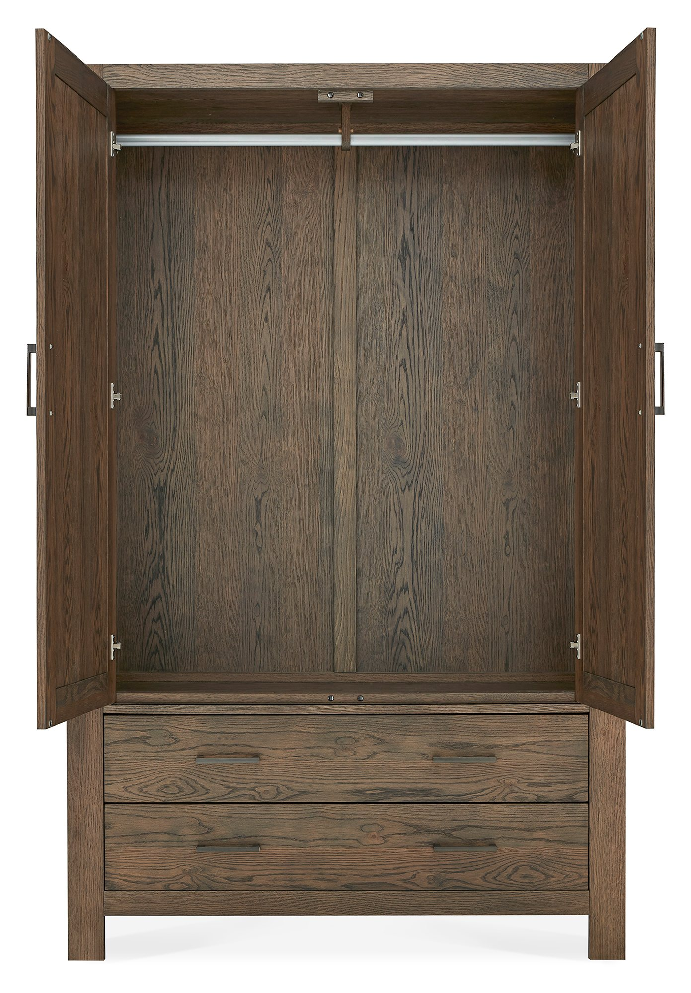LILLE DARK OAK LARGE DOUBLE ROBE WITH DRAWERS - INSIDE DETAIL