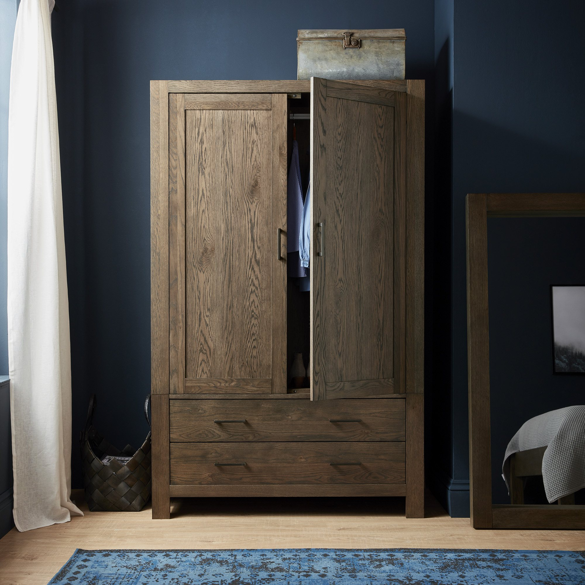LILLE DARK OAK LARGE DOUBLE ROBE WITH DRAWERS - L122cm x D56cm H195cm