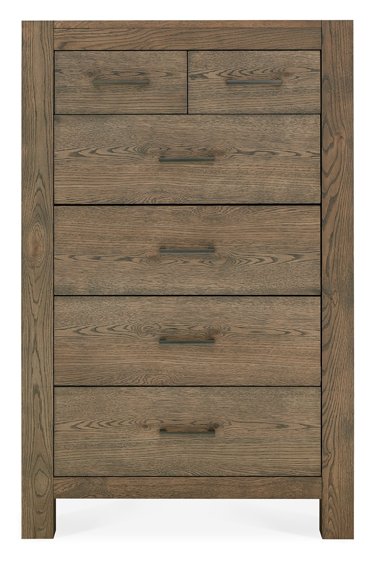 LILLE DARK OAK TALL CHEST - FRONT DETAIL