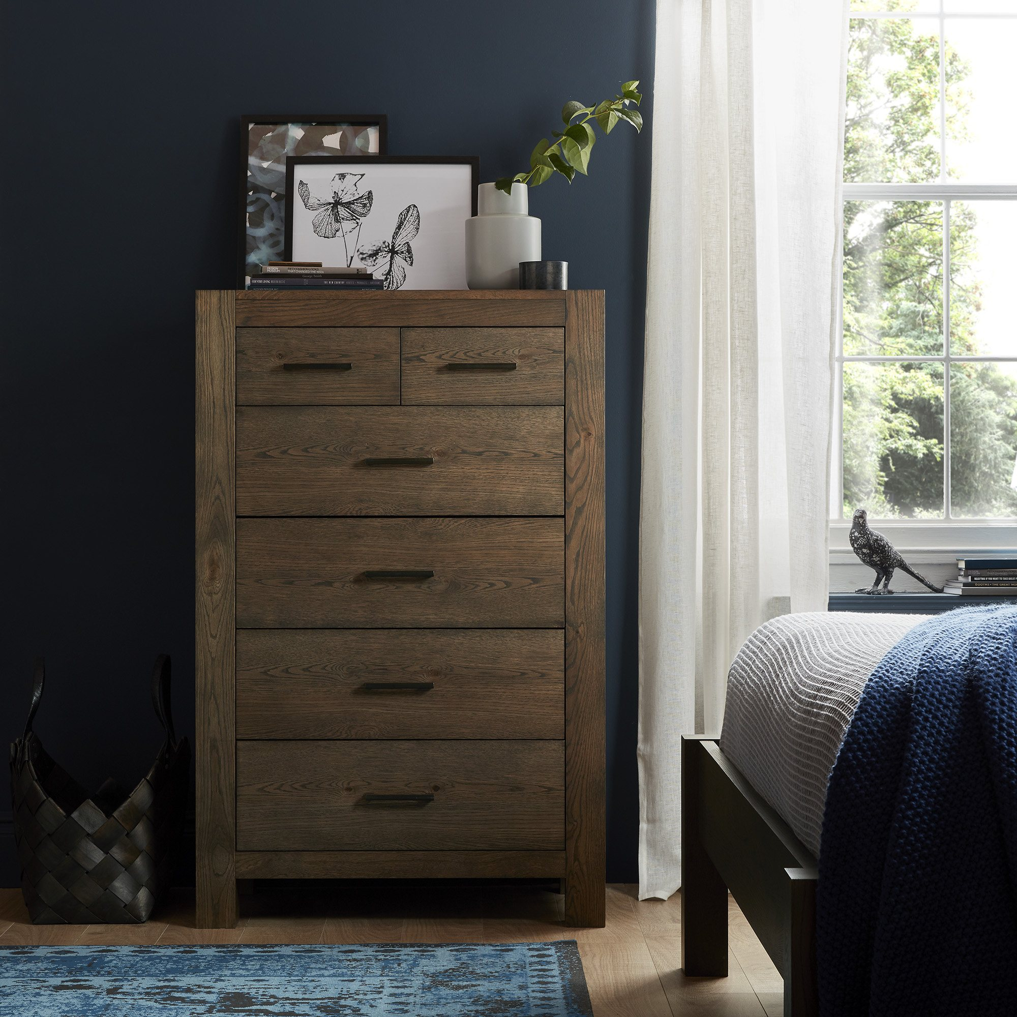 LILLE DARK OAK TALL CHEST - L83cm x D47cm x H129cm