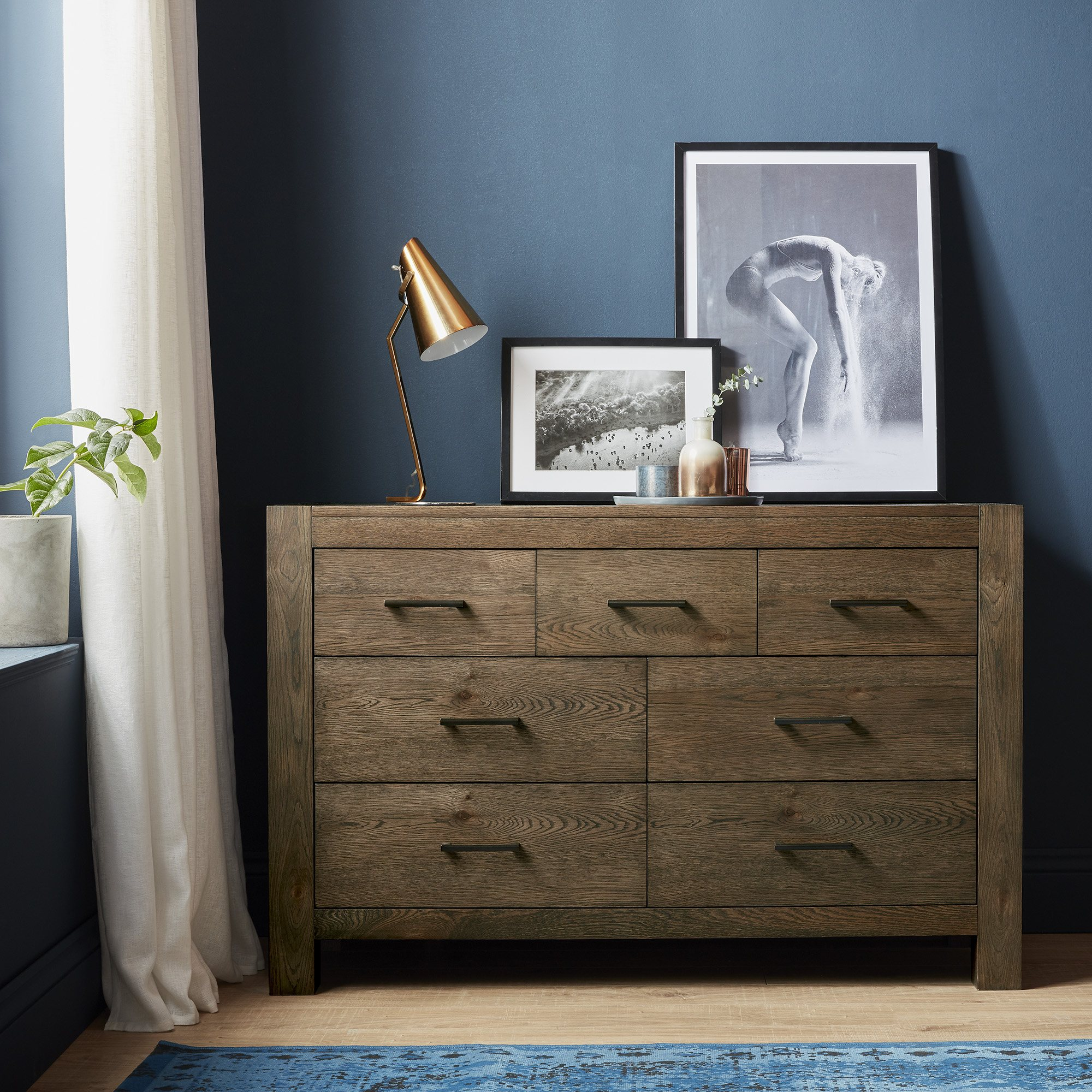 LILLE DARK OAK WIDE CHEST - L134cm x D47cm x H87cm
