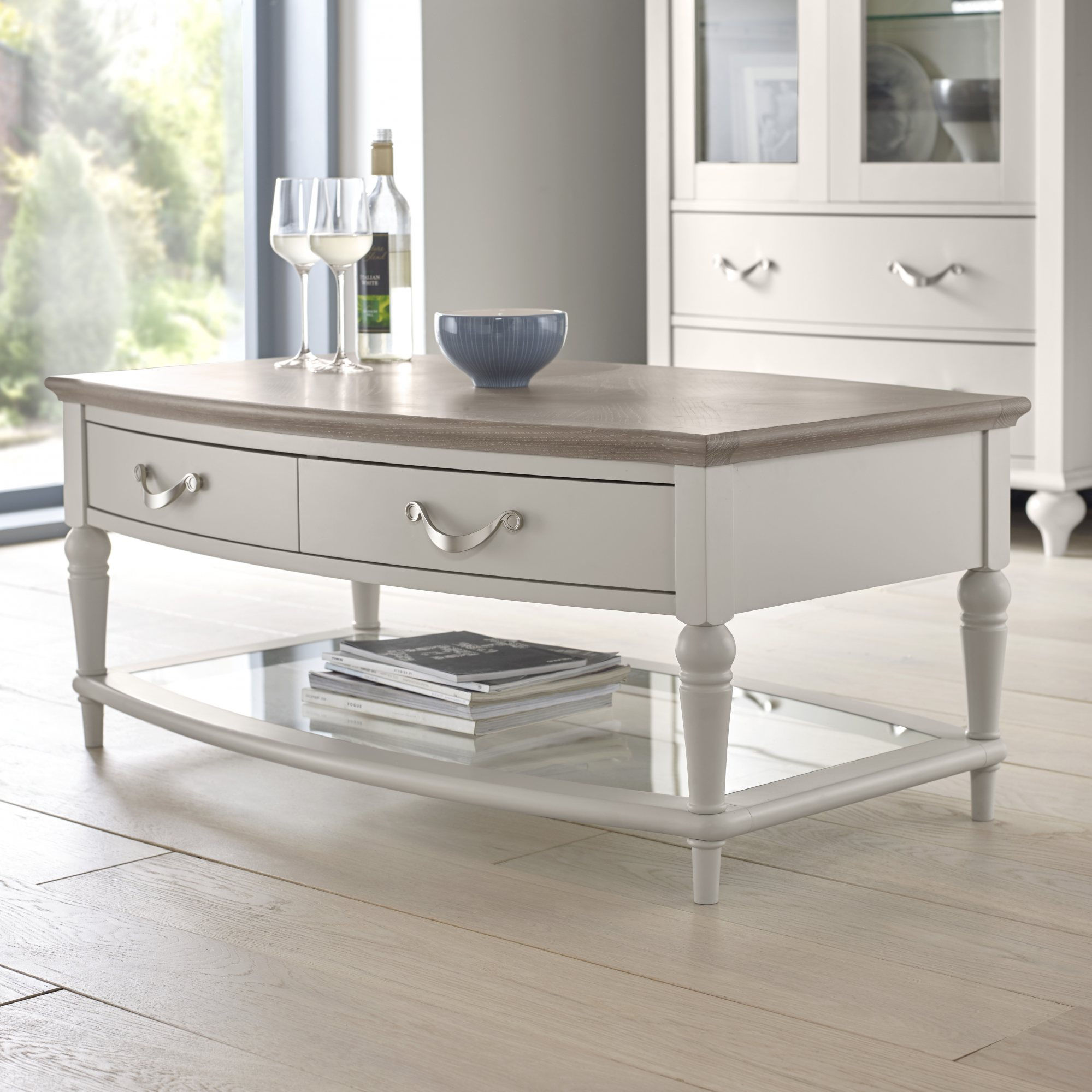 MONICA GREY COFEE TABLE - L108cm x D64cm x H46cm
