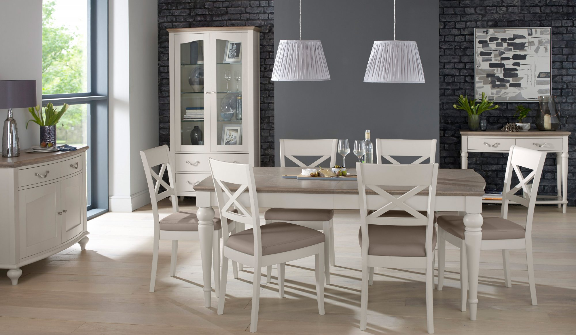 MONICA GREY DINING CHAIR - BONDED SEAT SET