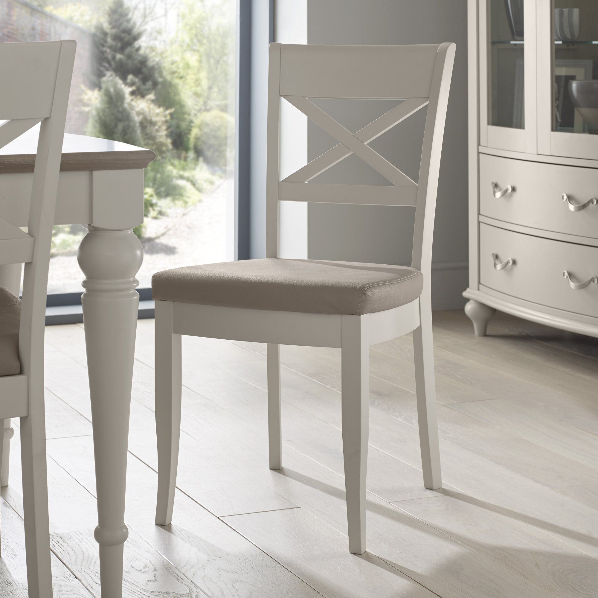 MONICA GREY DINING CHAIR - BONDED SEAT