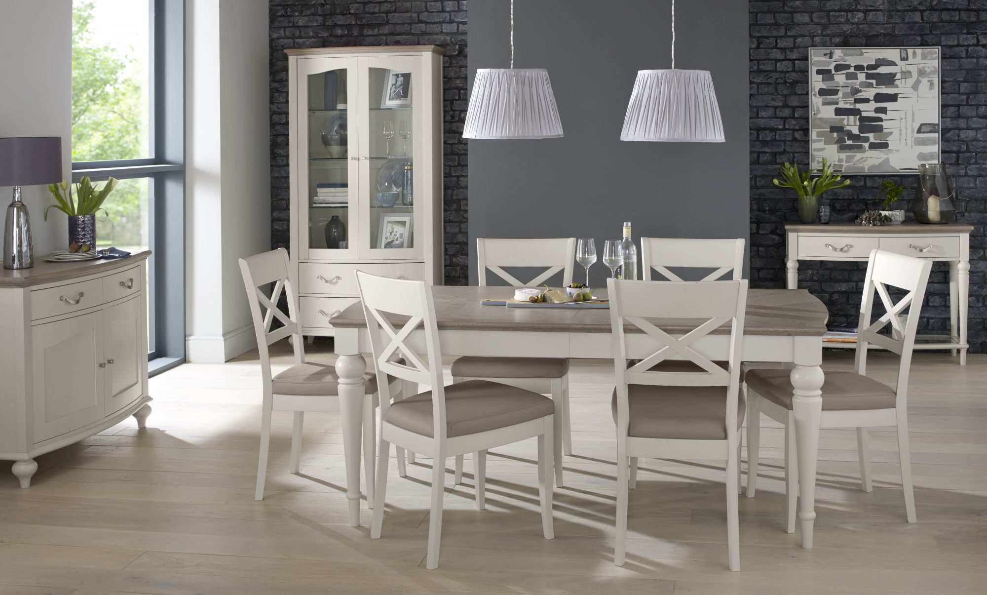 MONICA GREY DINING SET- L180cm EXTENDING TO L225cm