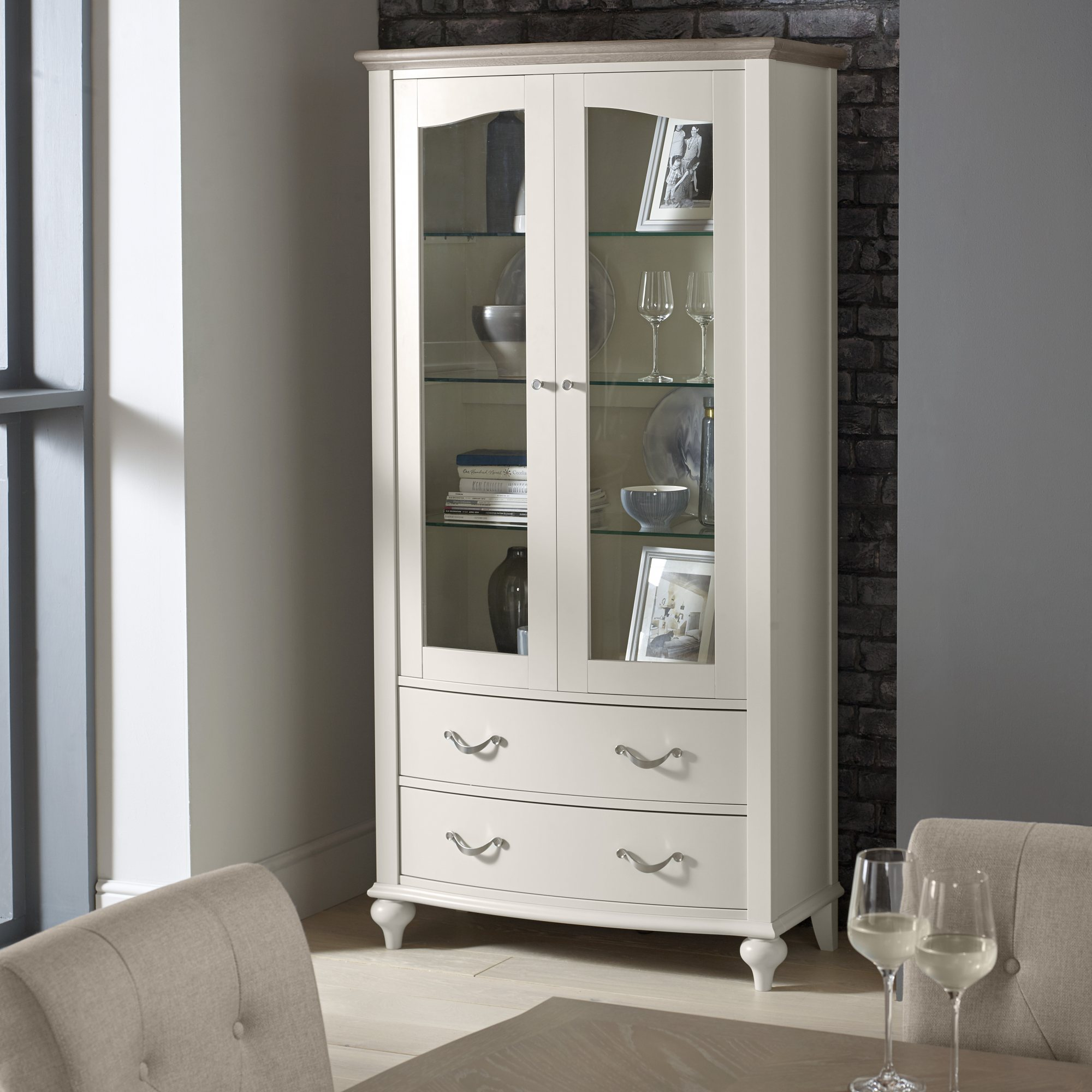 MONICA GREY DISPLAY CABINET - L100cm x D47cm x H201cm