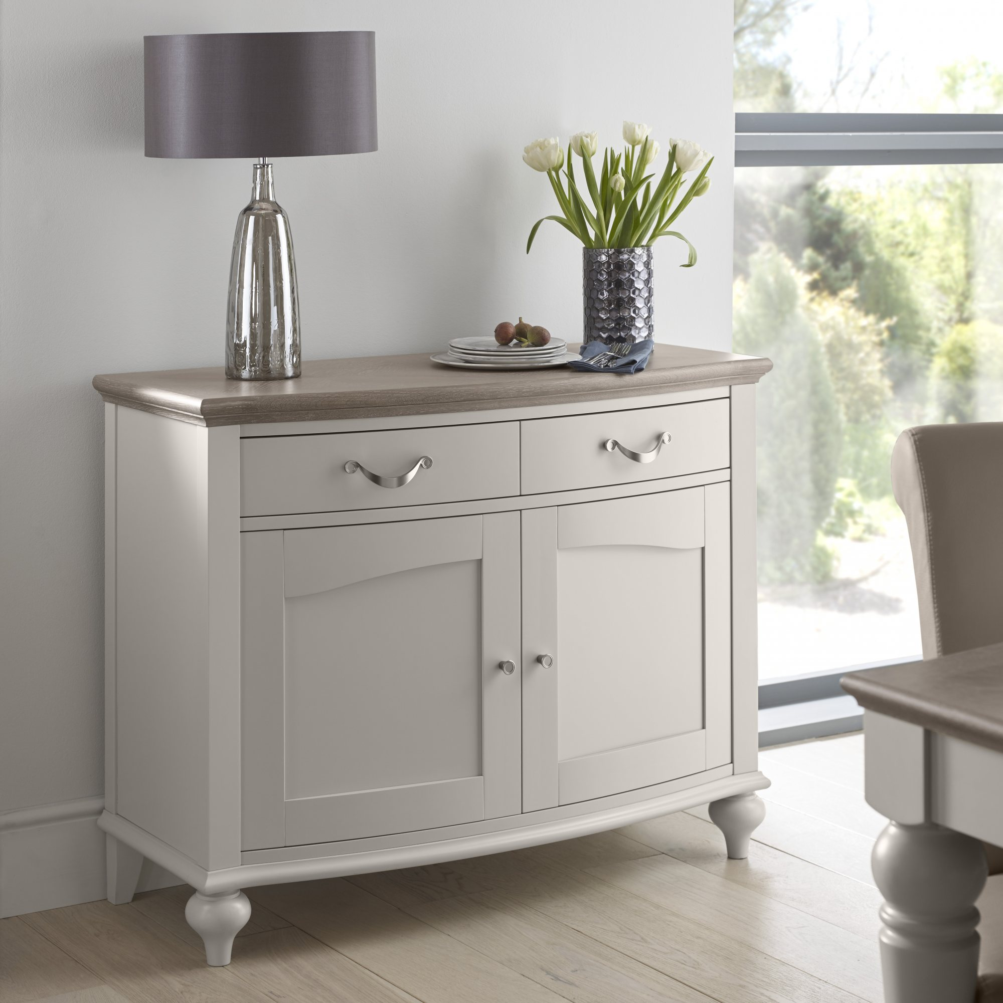 MONICA GREY NARROW SIDEBOARD - L110cm x D48cm x H86cm