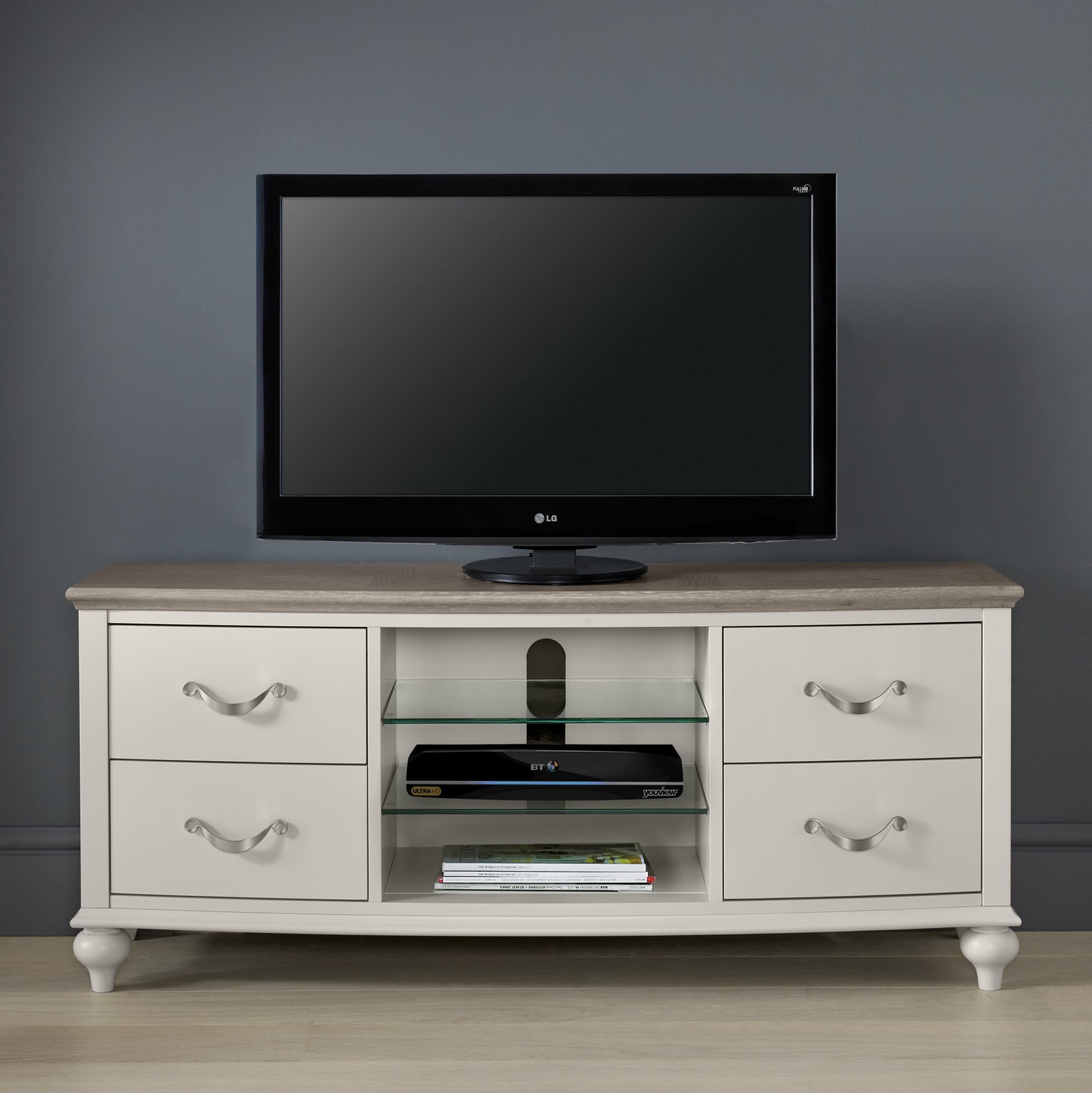 MONICA GREY TV UNIT - L135cm x D41cm x H58cm