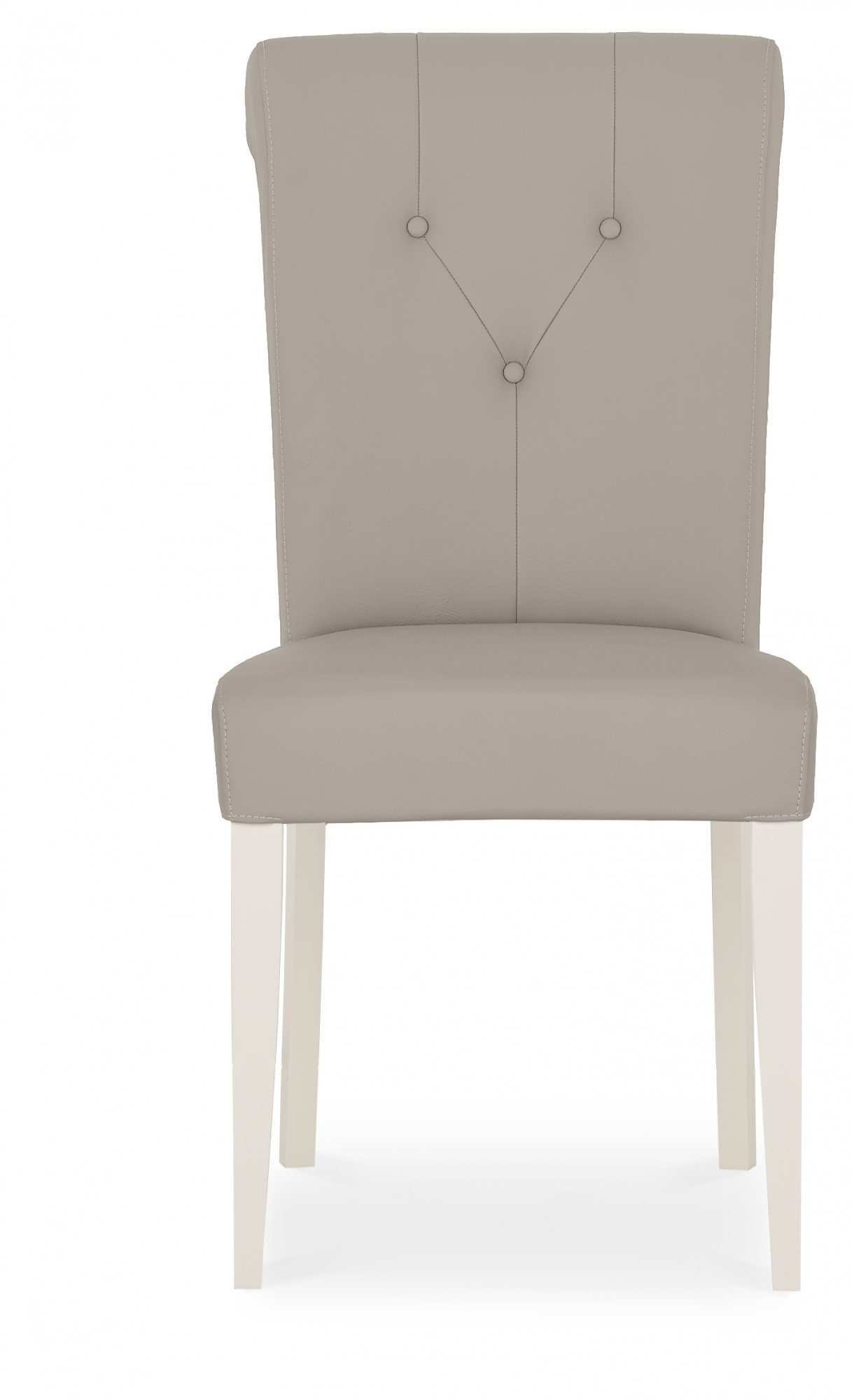 MONICA GREY UPHOLSTERED DINING CHAIR - FRONT DETAIL