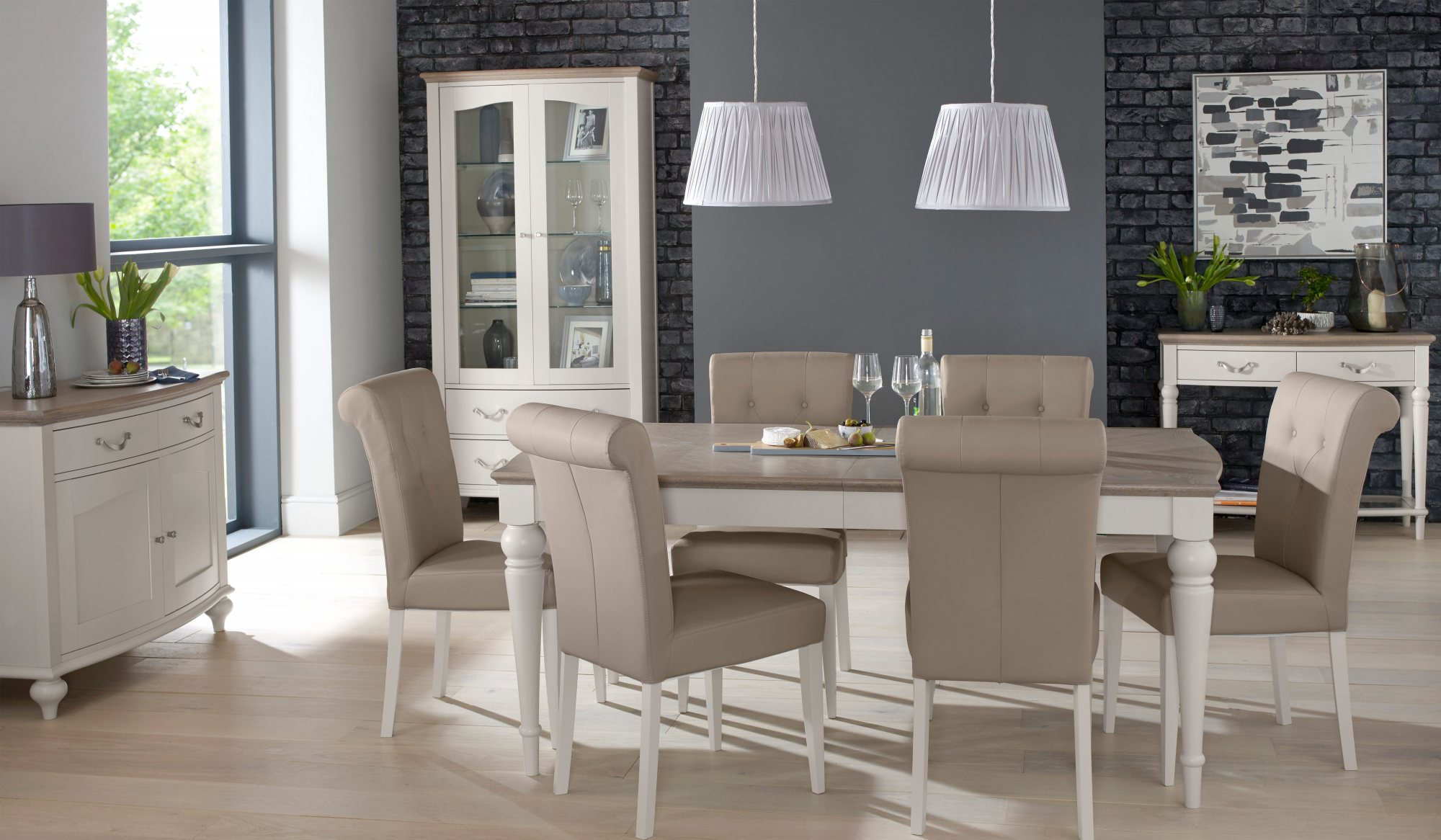 MONICA GREY UPHOLSTERED DINING CHAIR. SET