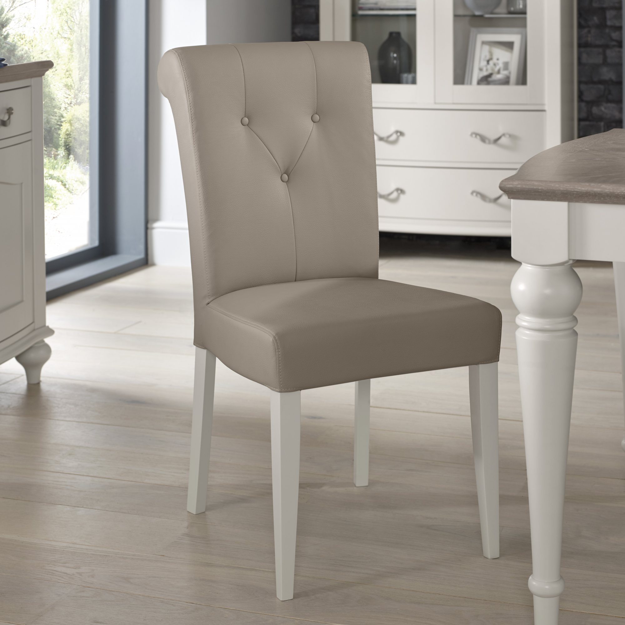 MONICA GREY UPHOLSTERED DINING CHAIR. – L46cm x D62cm x H95cm