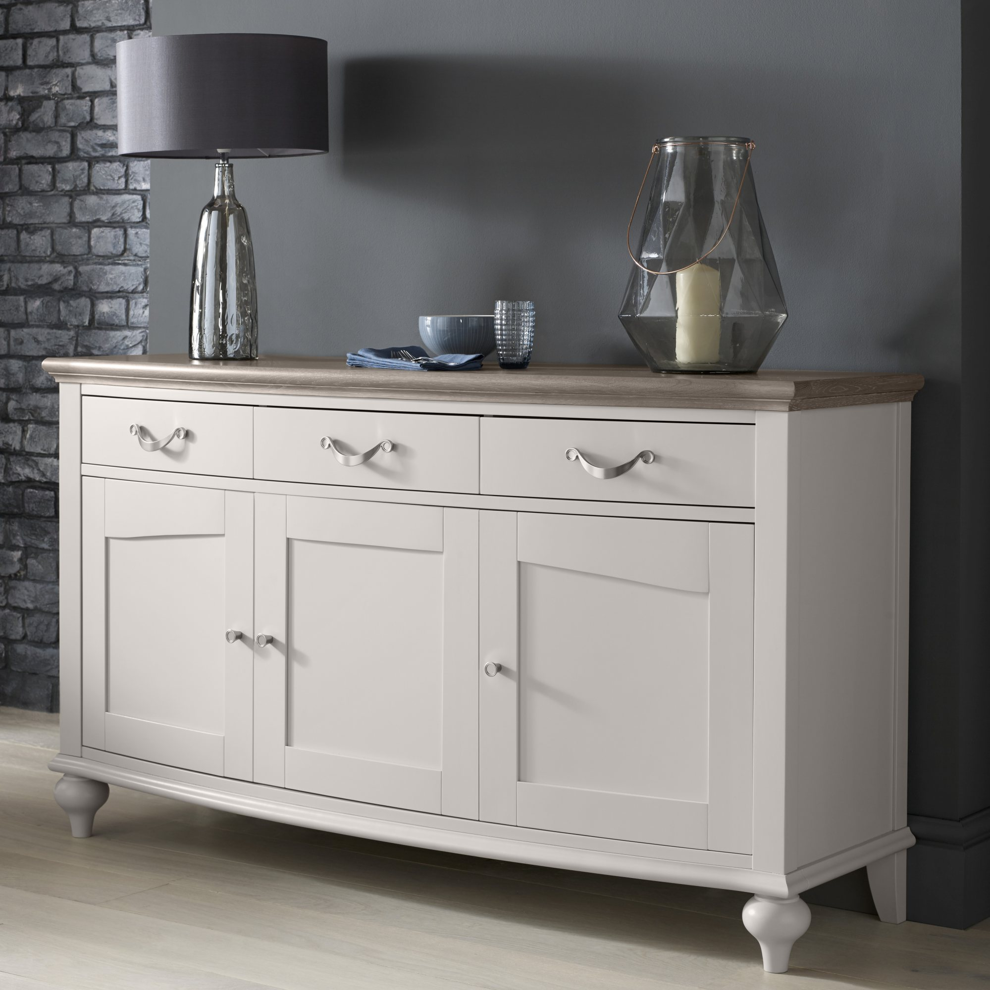MONICA GREY WIDE SIDEBOARD - L155cm x D48cm x H86cm