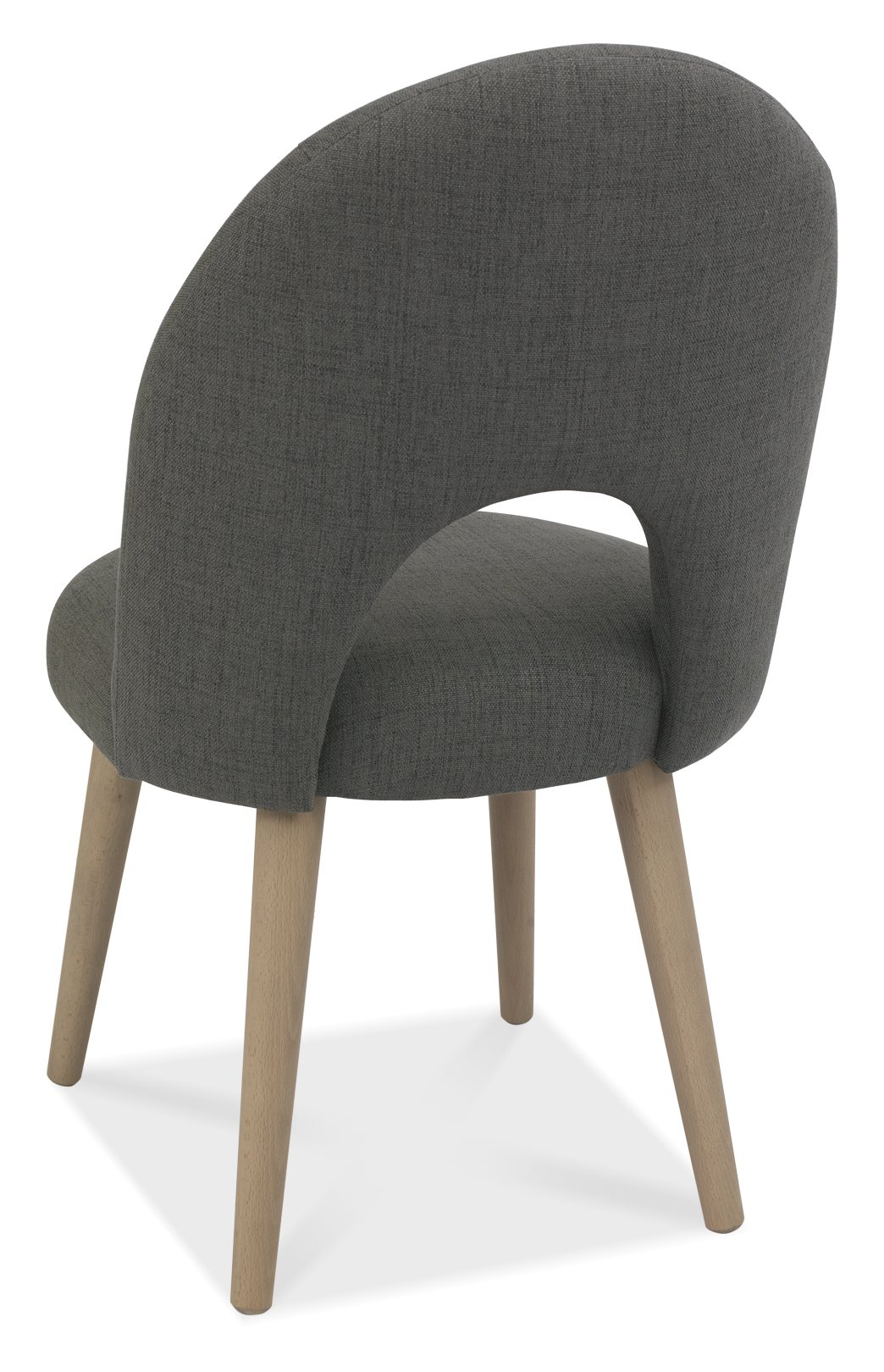RETRO GREY FABRIC DINING CHAIR - BACK DETAIL